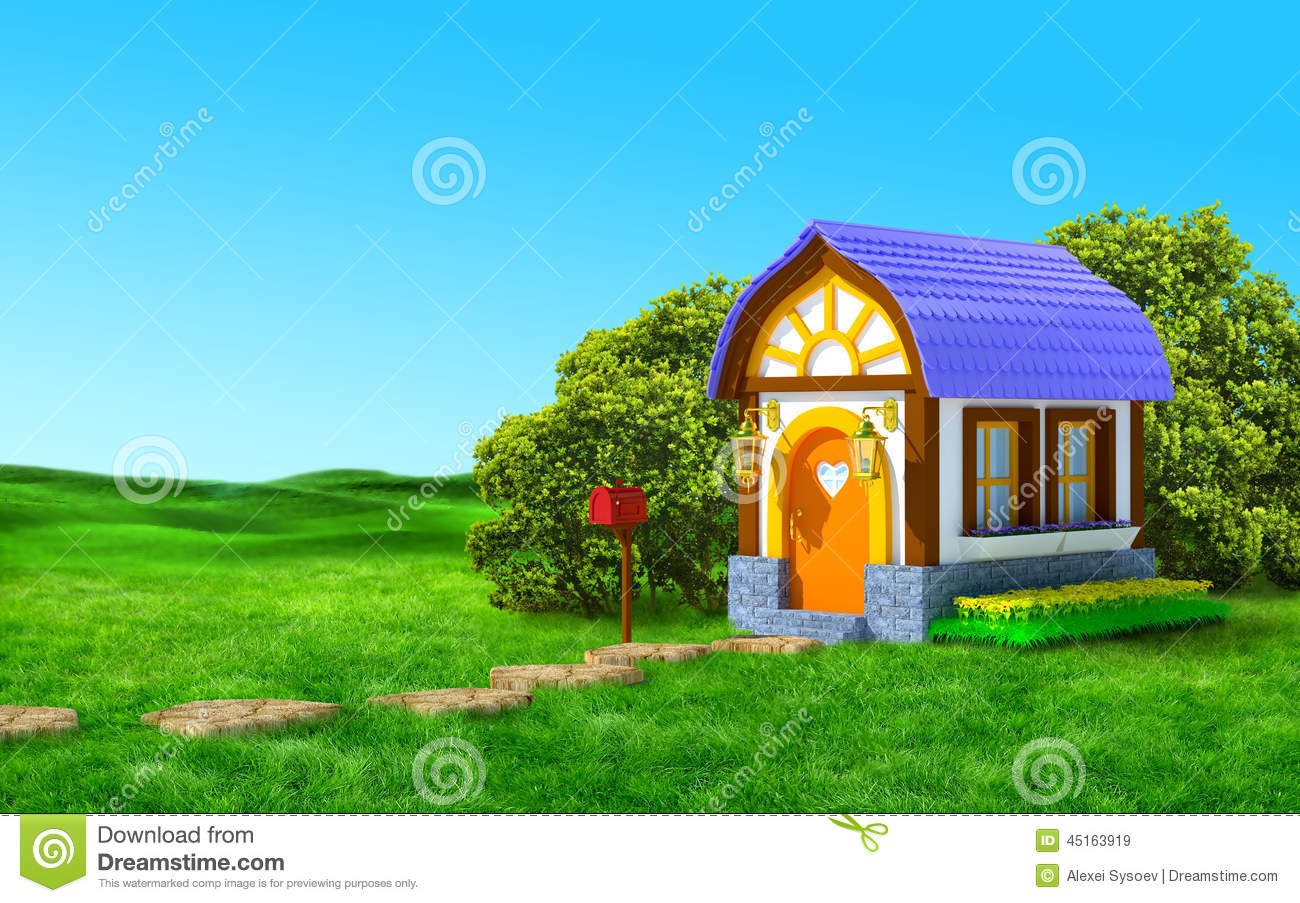 House With A Mailbox Stock Illustration Image 45163919