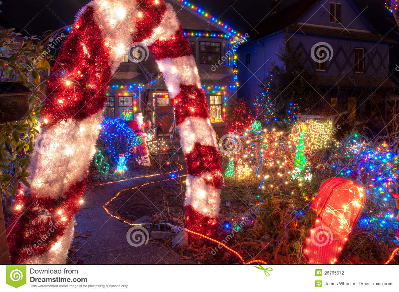 House with many colorful christmas lights stock photography image