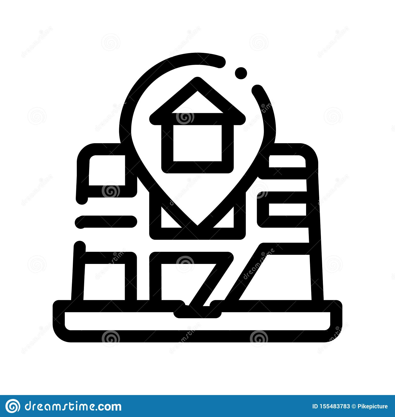 House Marker Location On Map Vector Thin Line Icon