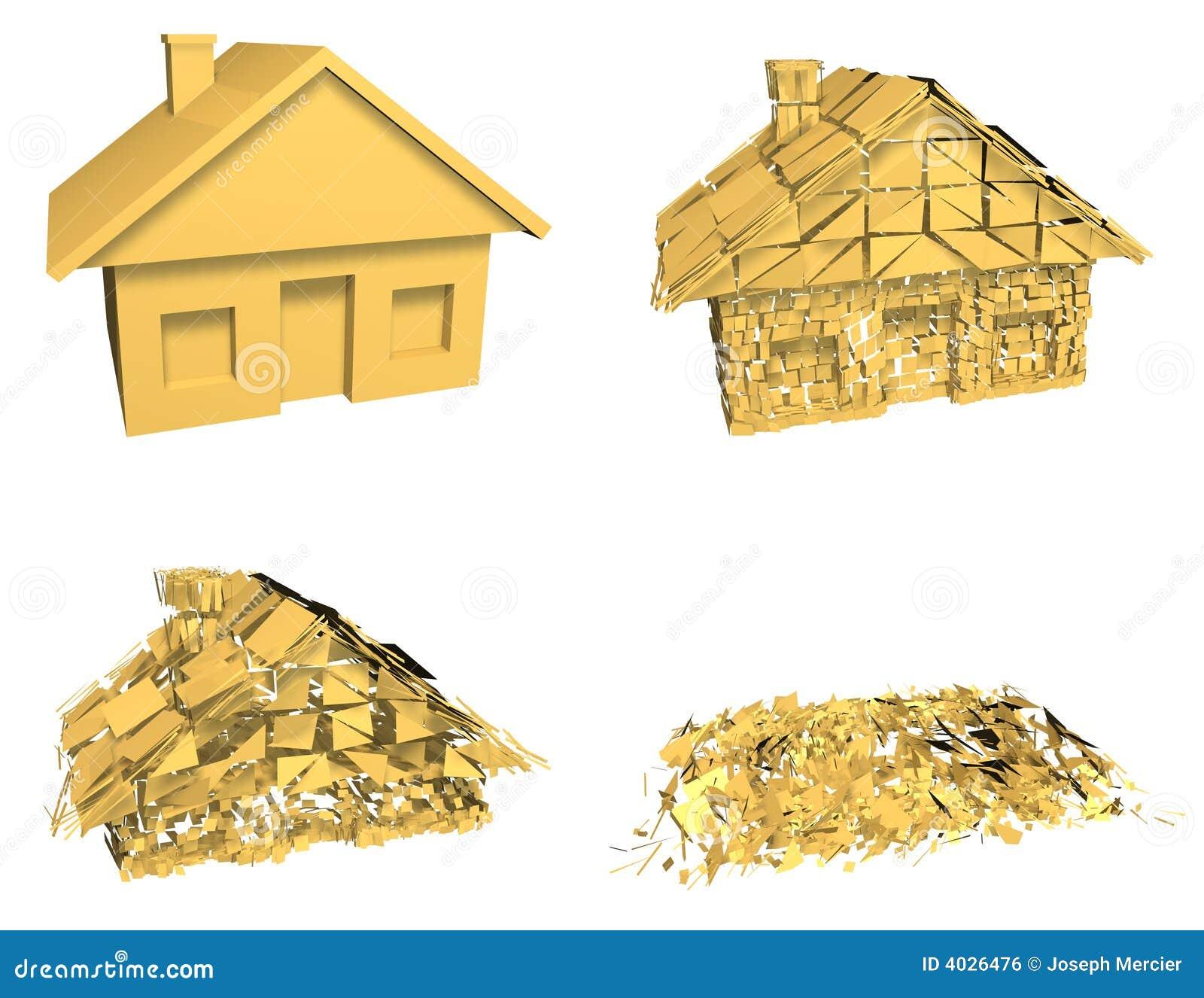 Home Design 3d Keeps Crashing: House Market Collapse Royalty Free Stock Image
