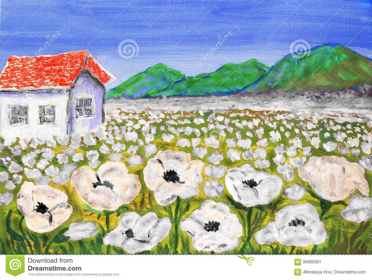 House On Meadow With White Flowers Painting Stock Illustration