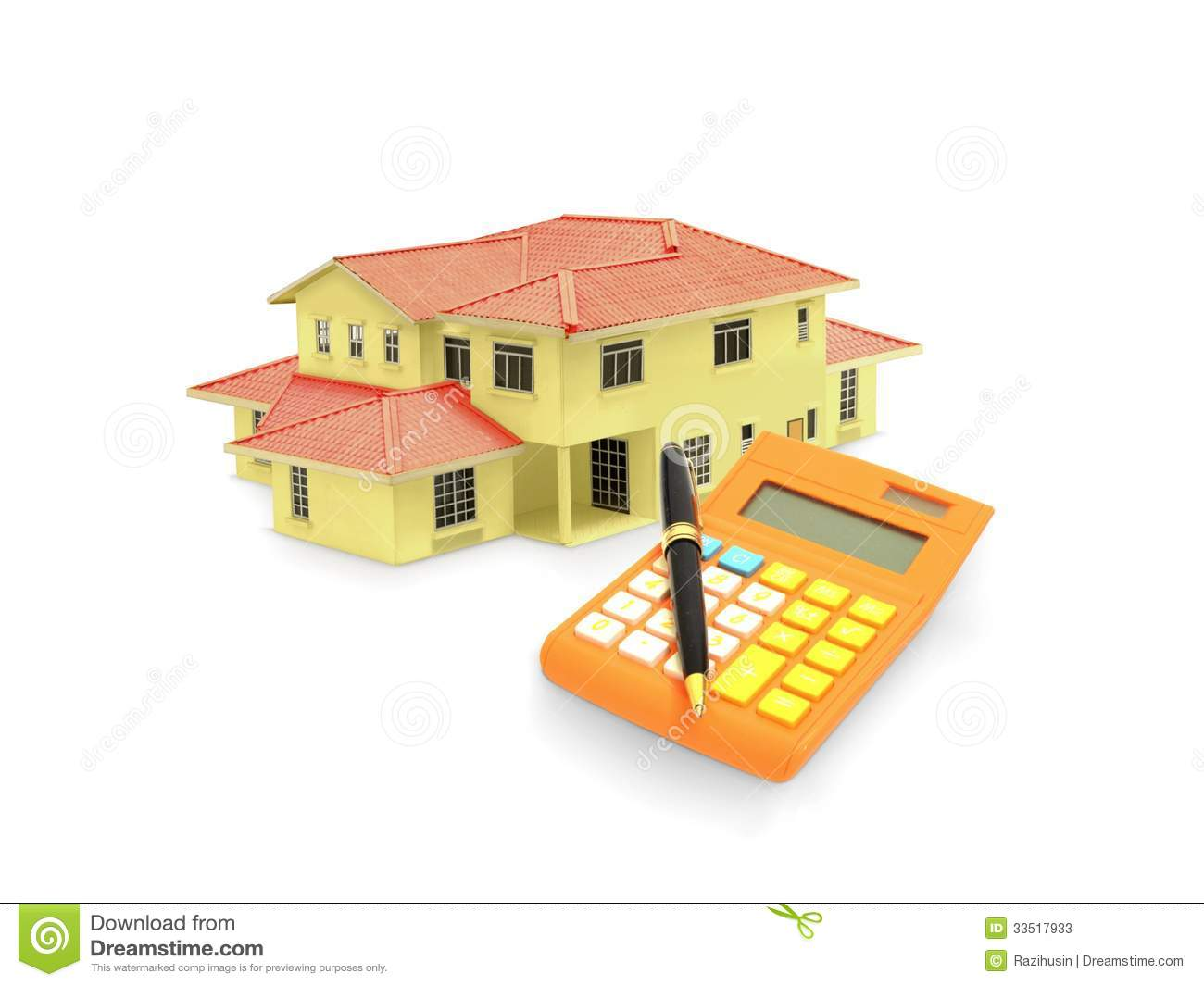 House Model With Calculator And Pen Stock Photos Image
