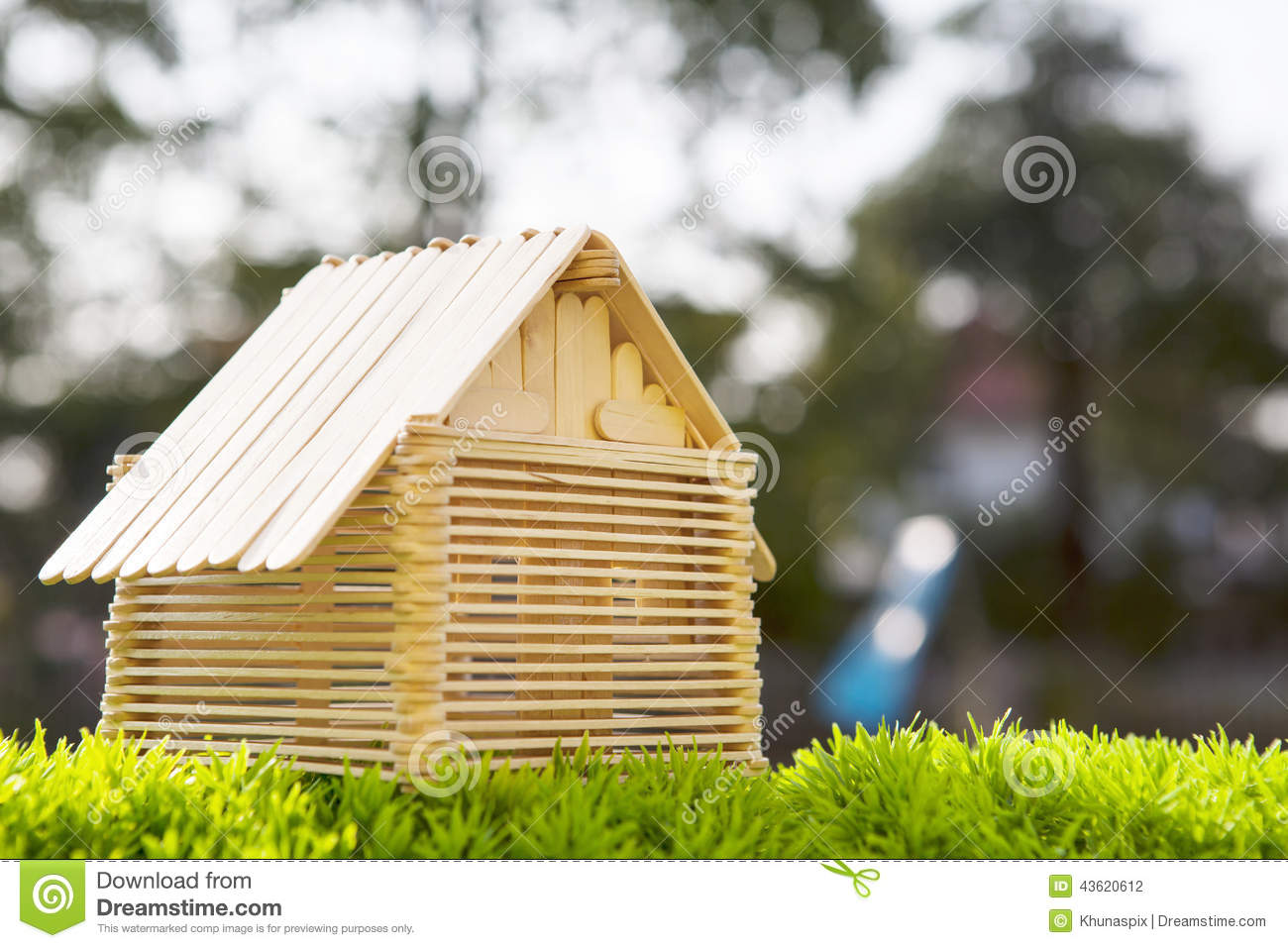 house model make wood stick artificial gra grass field blurry background use home nad housing abstract 43620612