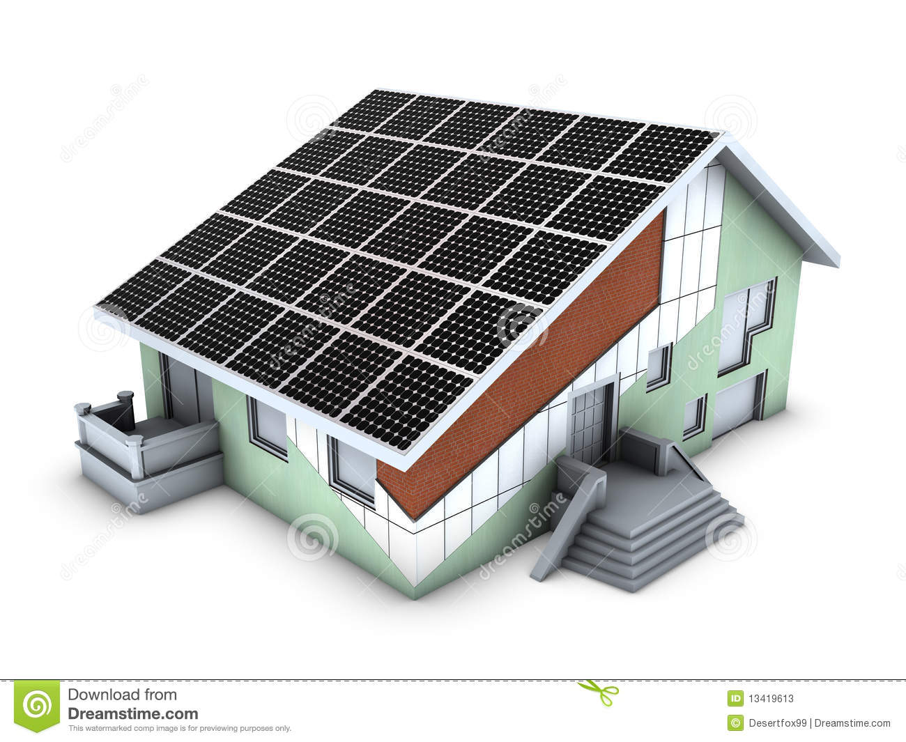 House Model With Polystyrene Block And Solar Panel Stock
