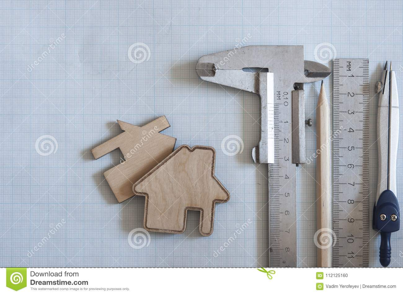 Engineer Equipment On Graph Paper Stock Photo Image Of Design