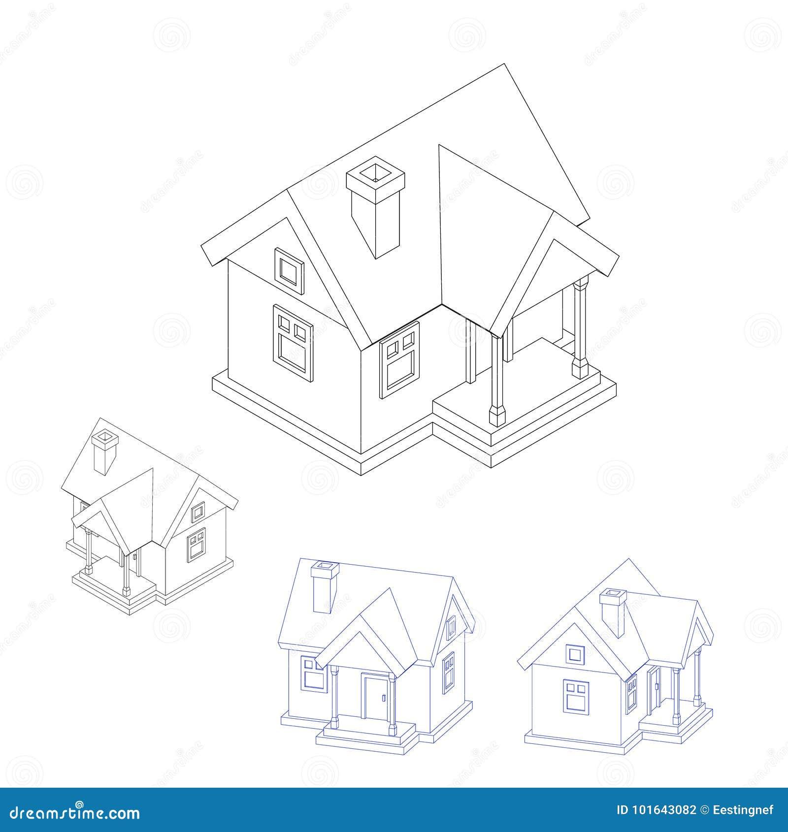 House Model Set Isolated On White Background Vector Stock