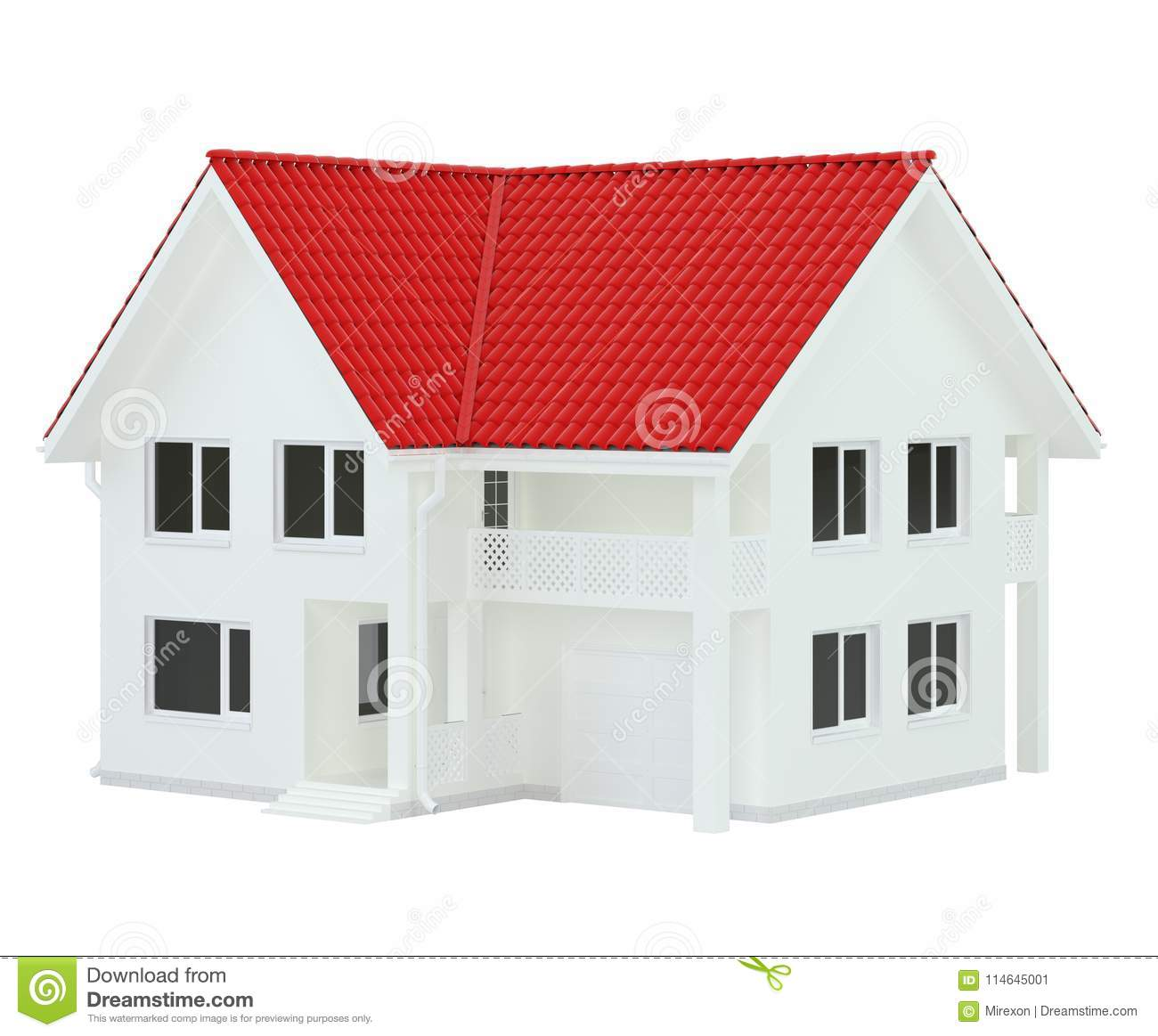 Modern House Red Roof: House Modern Contemporary Style With Red Roof Isolated On