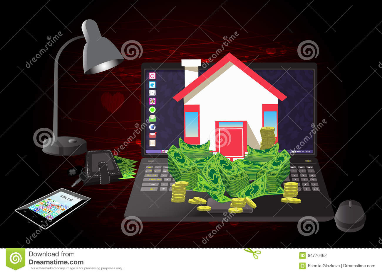 House And Money On A Computer Of Burgundy Stock Vector ... on caribbean house designs, button designs, lantern designs, bunkie designs, keys with designs, poetry designs, house extension designs, house keys fun, diary designs, money designs, stilt home designs, phone designs, florida beach house designs, house entry designs, house warehouse, cool computer designs, house number designs, housekeeping designs, house of k fashion logo, black and white abstract designs,