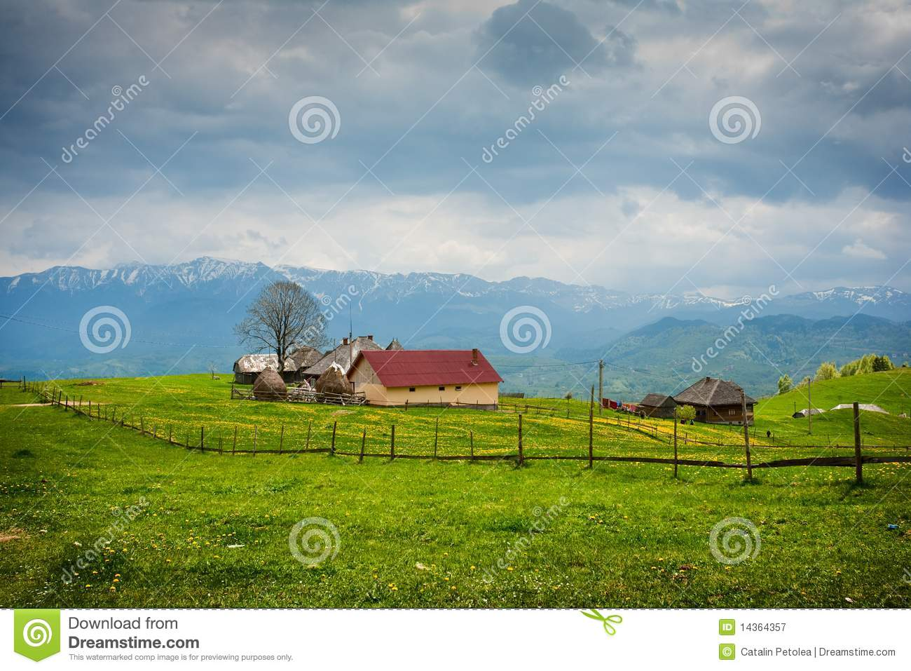 House in the mountain meadow royalty free stock for Meadow house