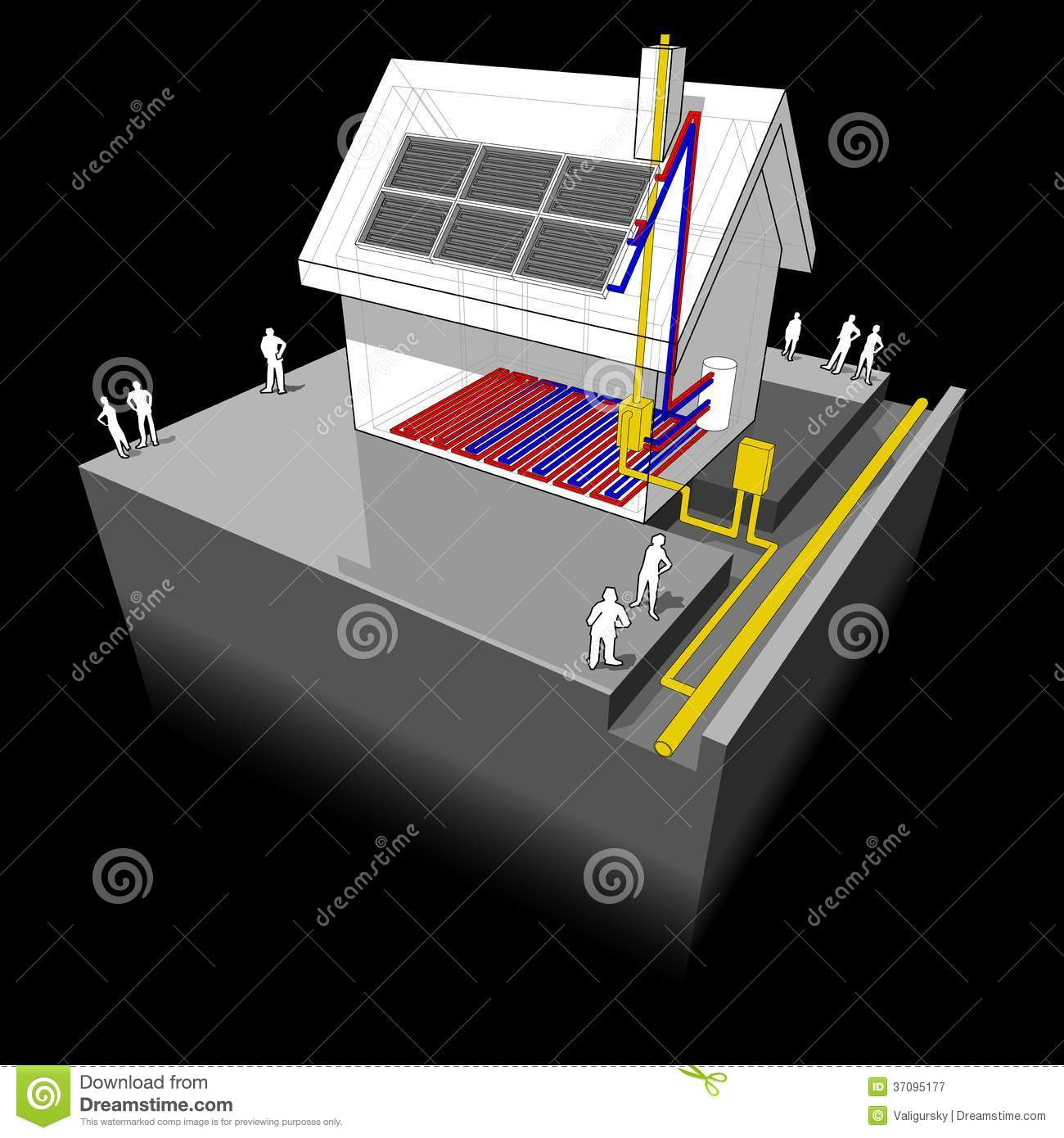 ... with natural gas heater, underfloor heating and solar panels diagram