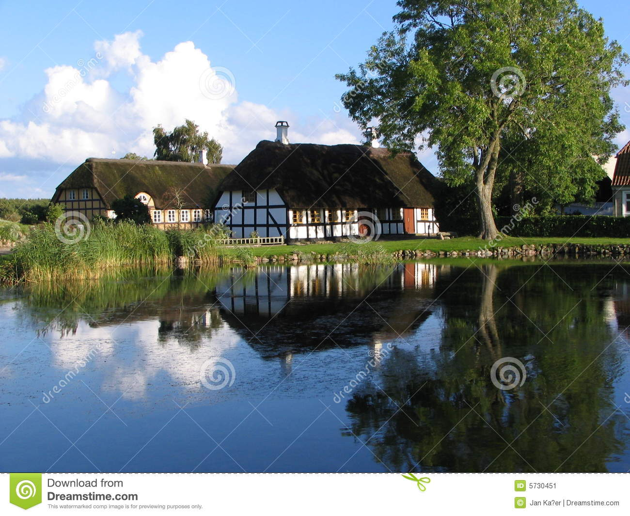 house near the pond in danmark stock image image 5730451. Black Bedroom Furniture Sets. Home Design Ideas