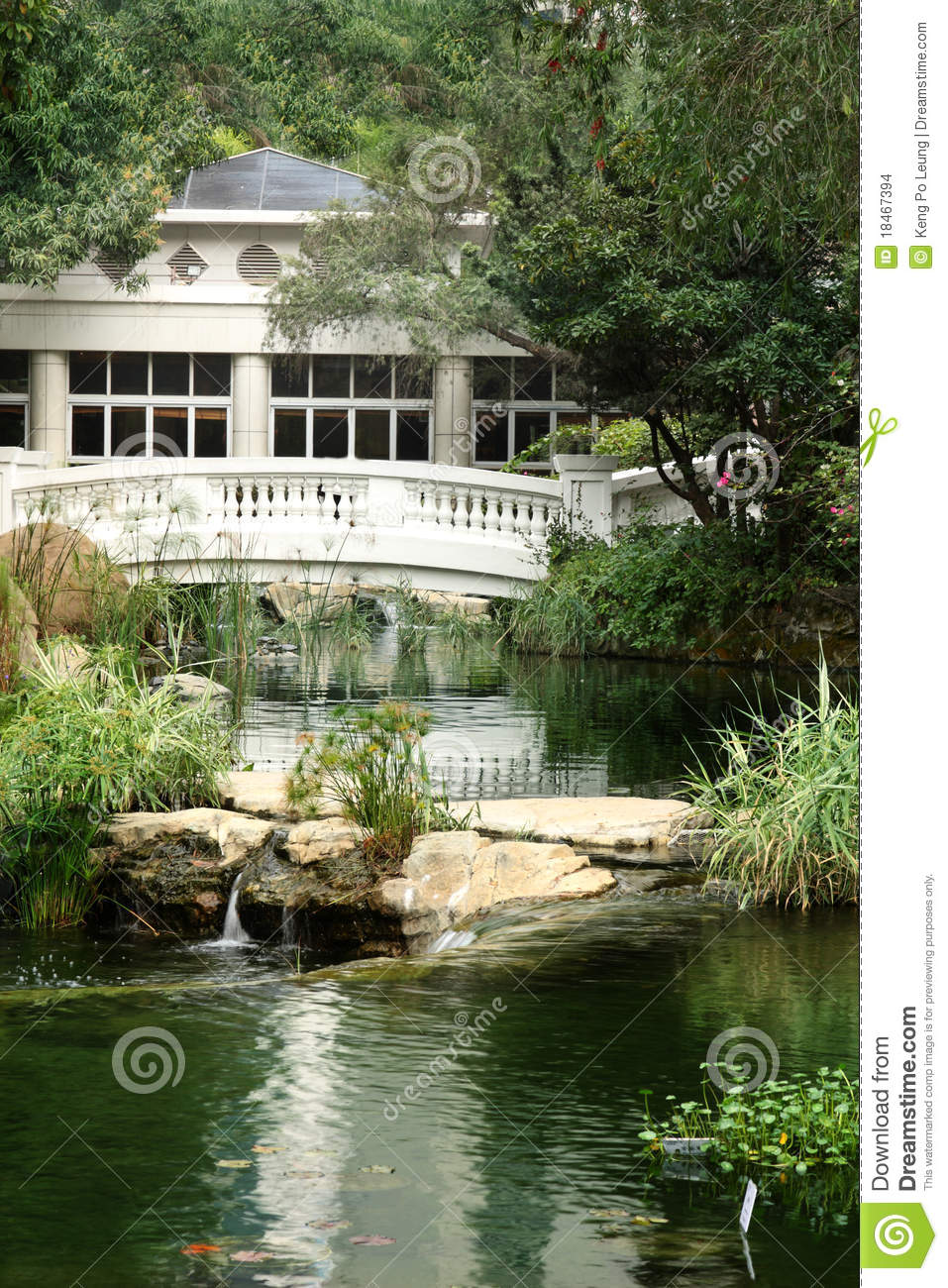 House Near The Water Surrounded By Trees Stock Images