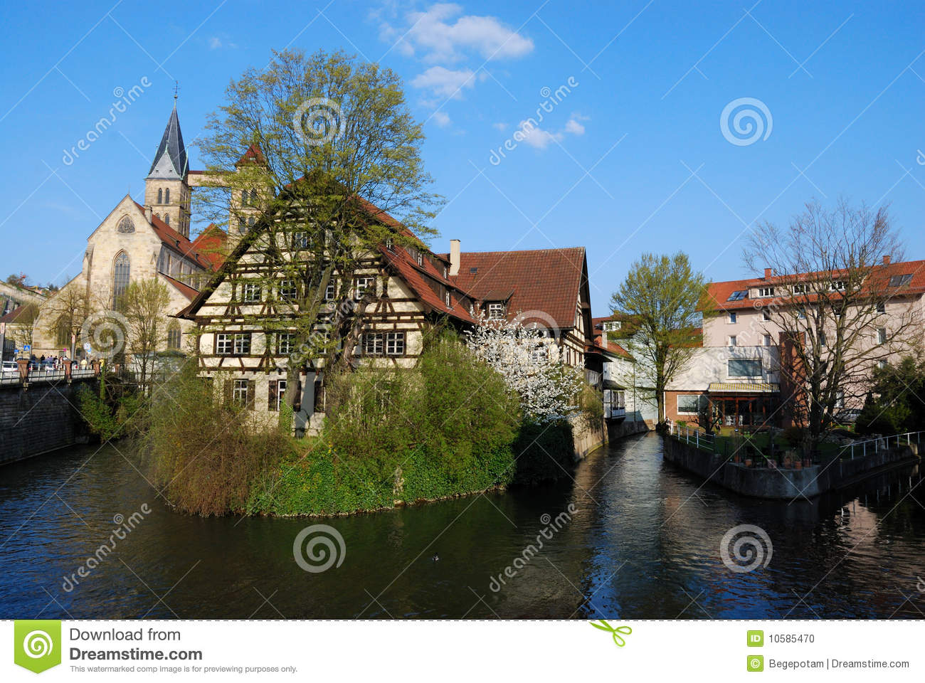 House On Neckar River In Stuttgart Esslingen Stock Photo
