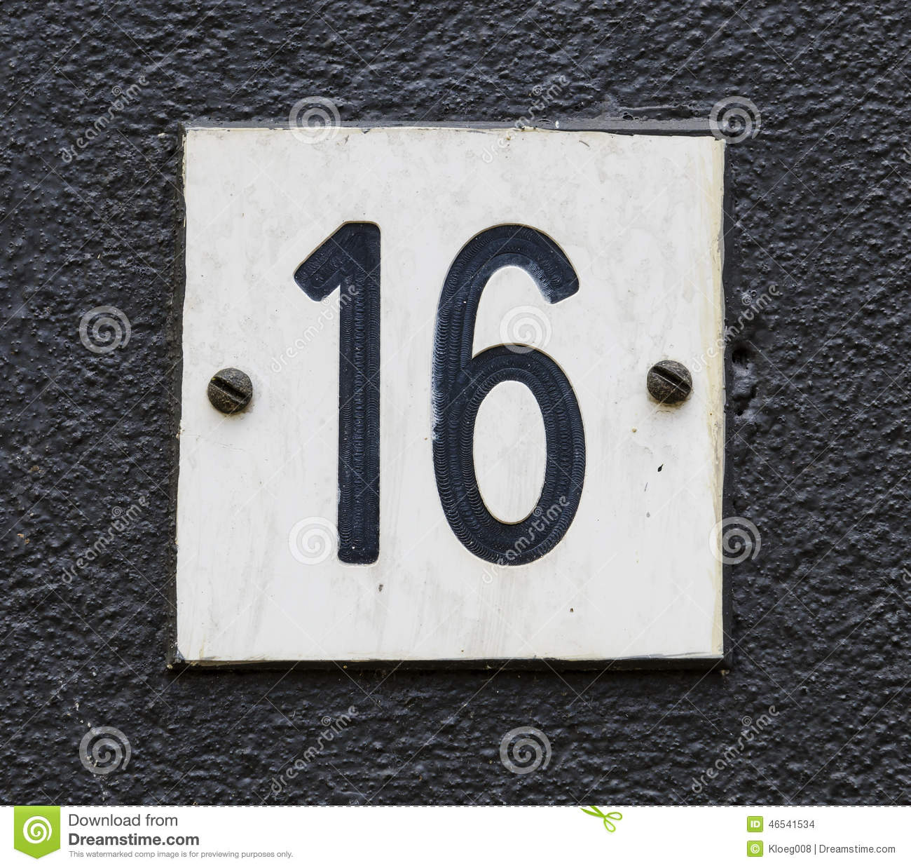 House number 16 stock photo image 46541534 for Number 16 house