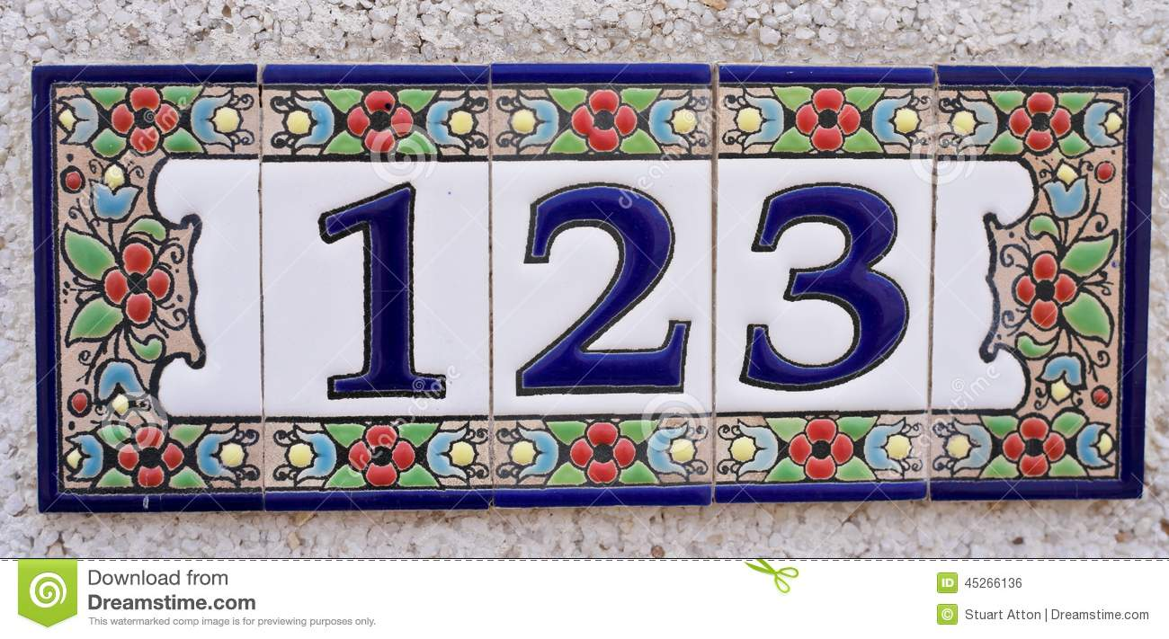 House Number Stock Photo Image Of Blue Flower Three