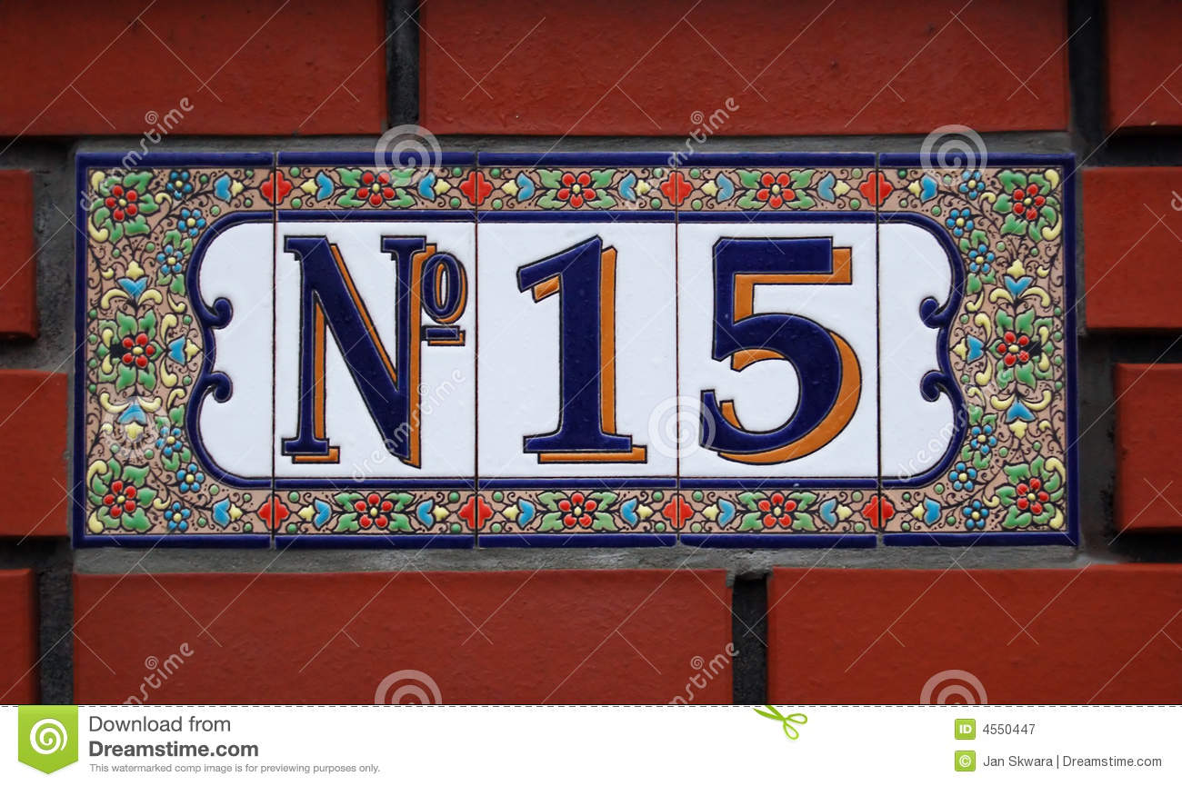 House Number Tile Plaque With Floral Ornament Royalty-Free ...