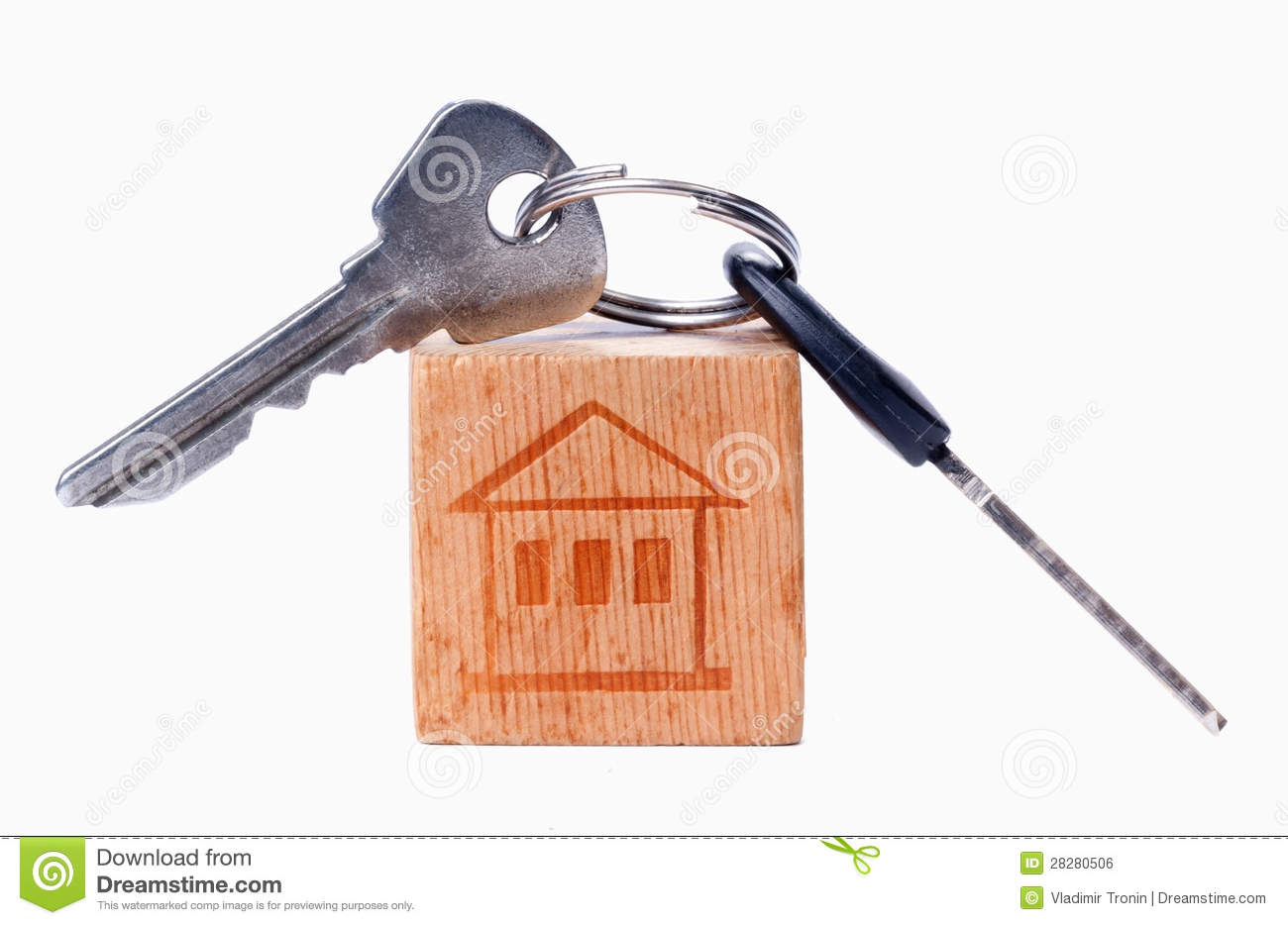 House on the old wooden cube with keys royalty free stock for Classic house keys