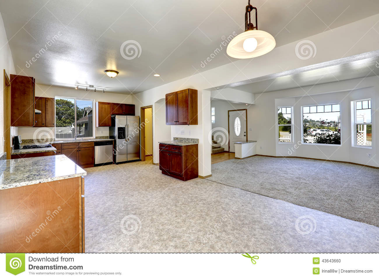 Open Floor Kitchen House With Open Floor Plan Empty Living And Kitchen Room Stock