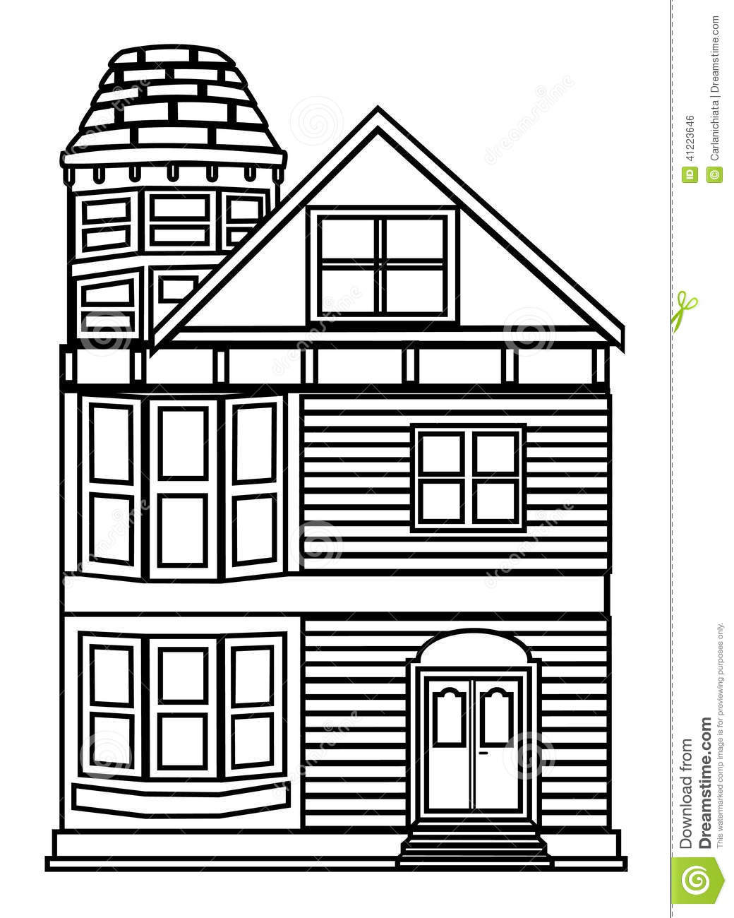 Victorian House Outline Simple Style