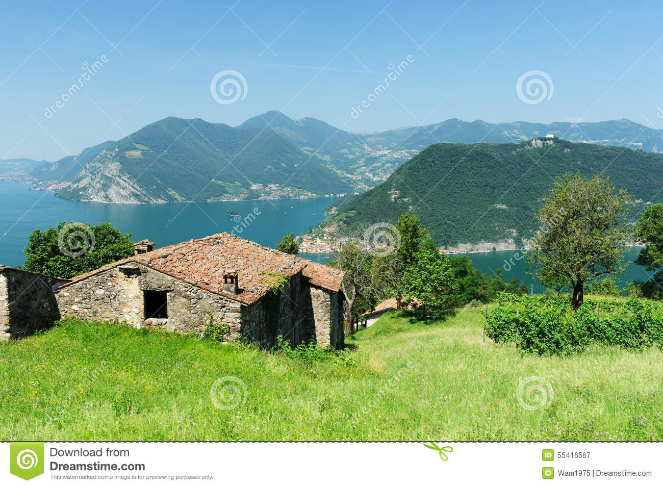 House overlooking lake iseo stock image image of barn - House in the mountains ...
