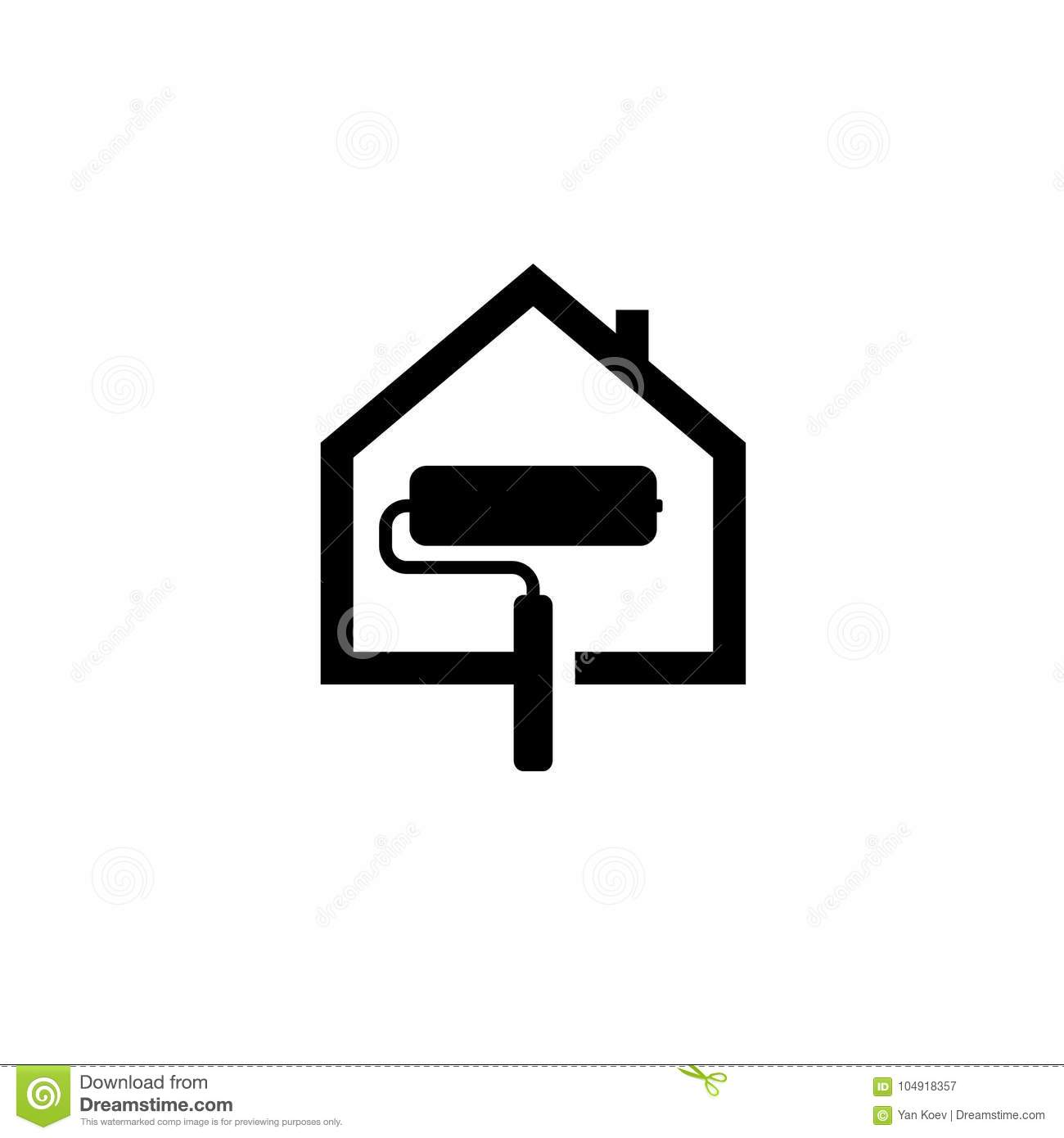 House Paint Service Black Icon Stock Vector