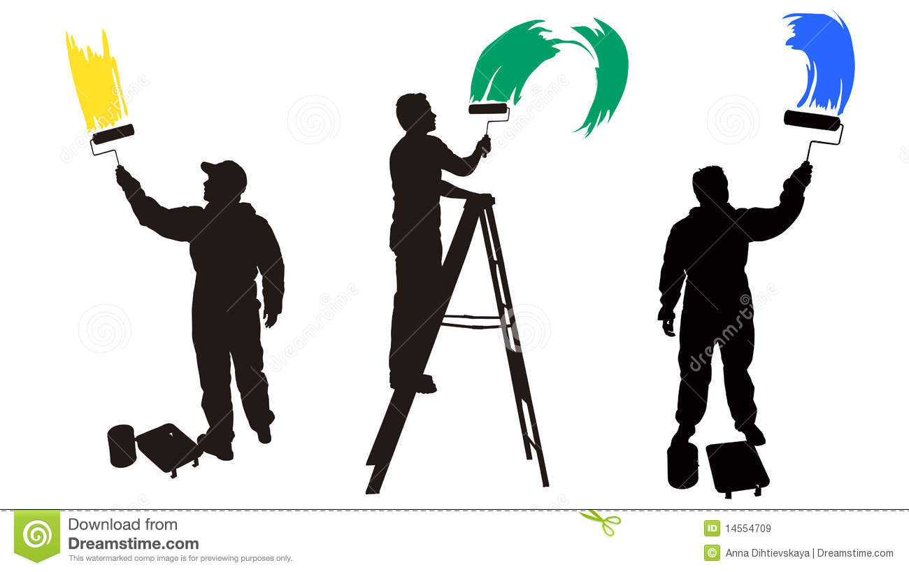 Painter On Ladder Painting Wall
