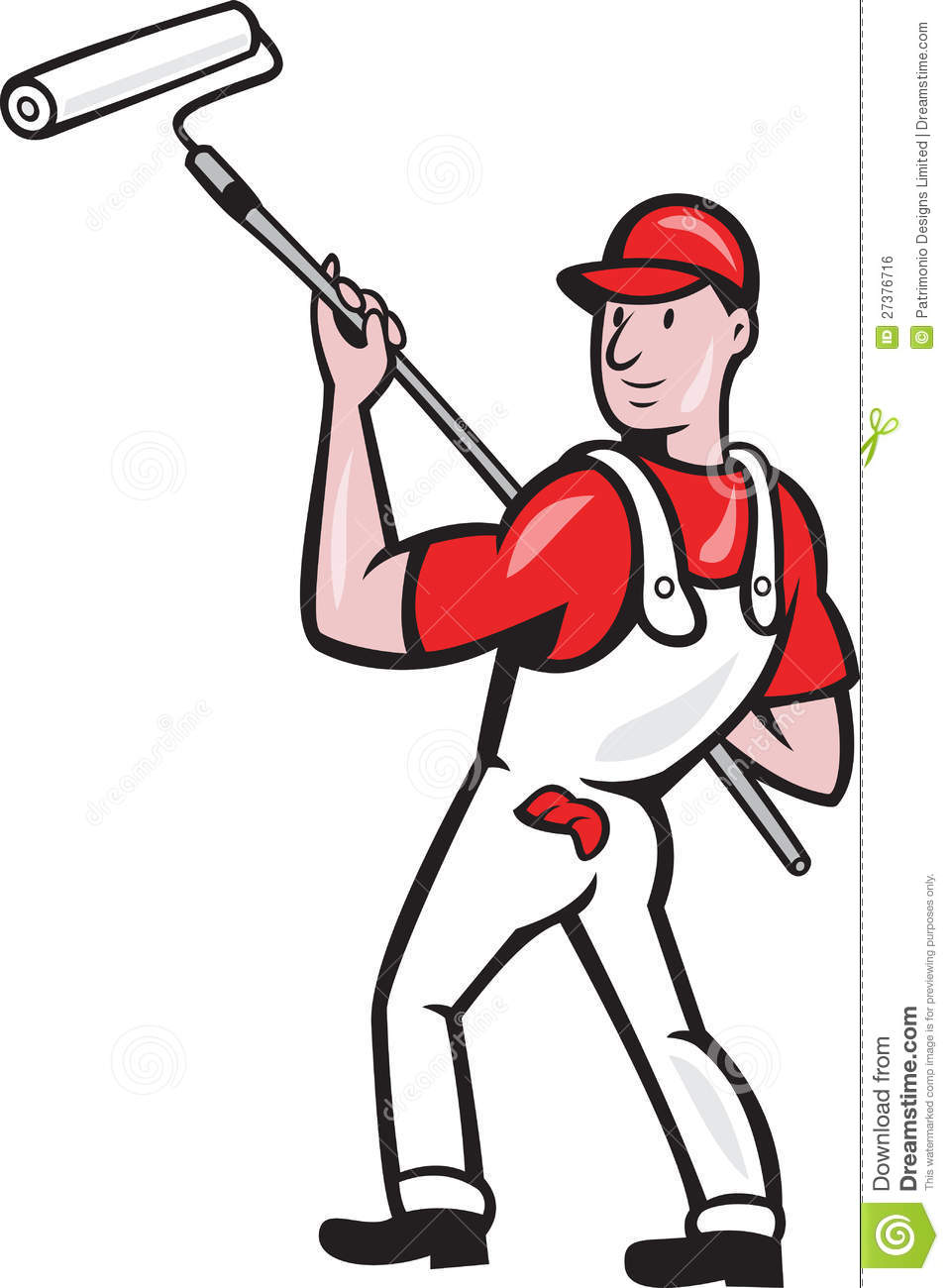 House Painter With Paint Roller Cartoon Royalty Free Stock Image ...