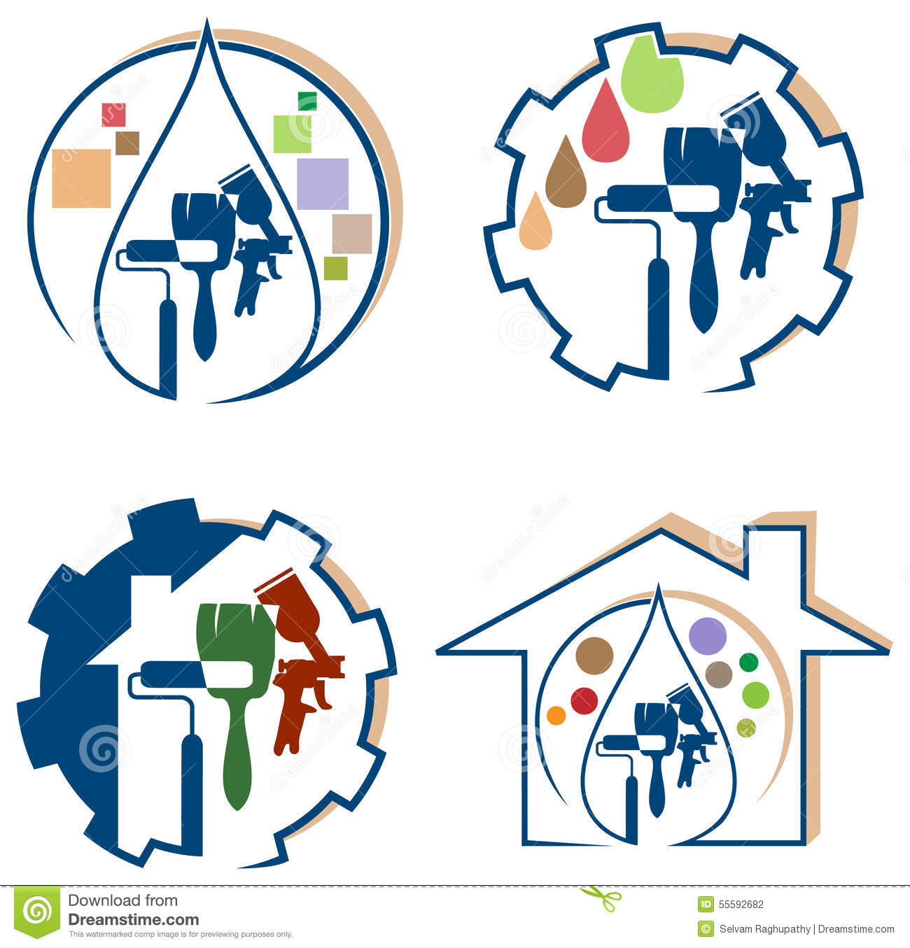 House painting logo set stock vector image 55592682 for Painting and decorating logo ideas