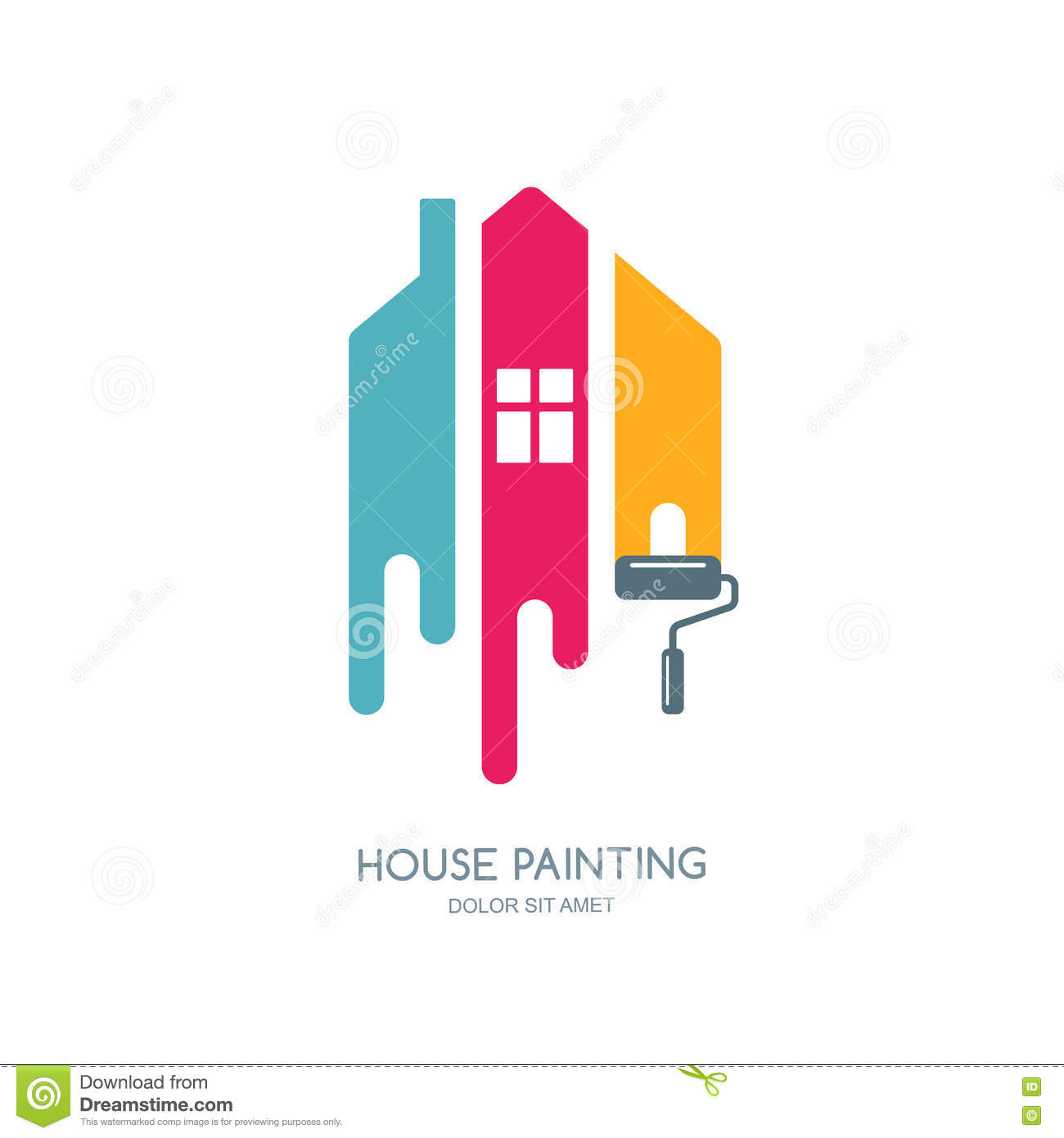 House Painting Service Decor And Repair Multicolor Icon Vector