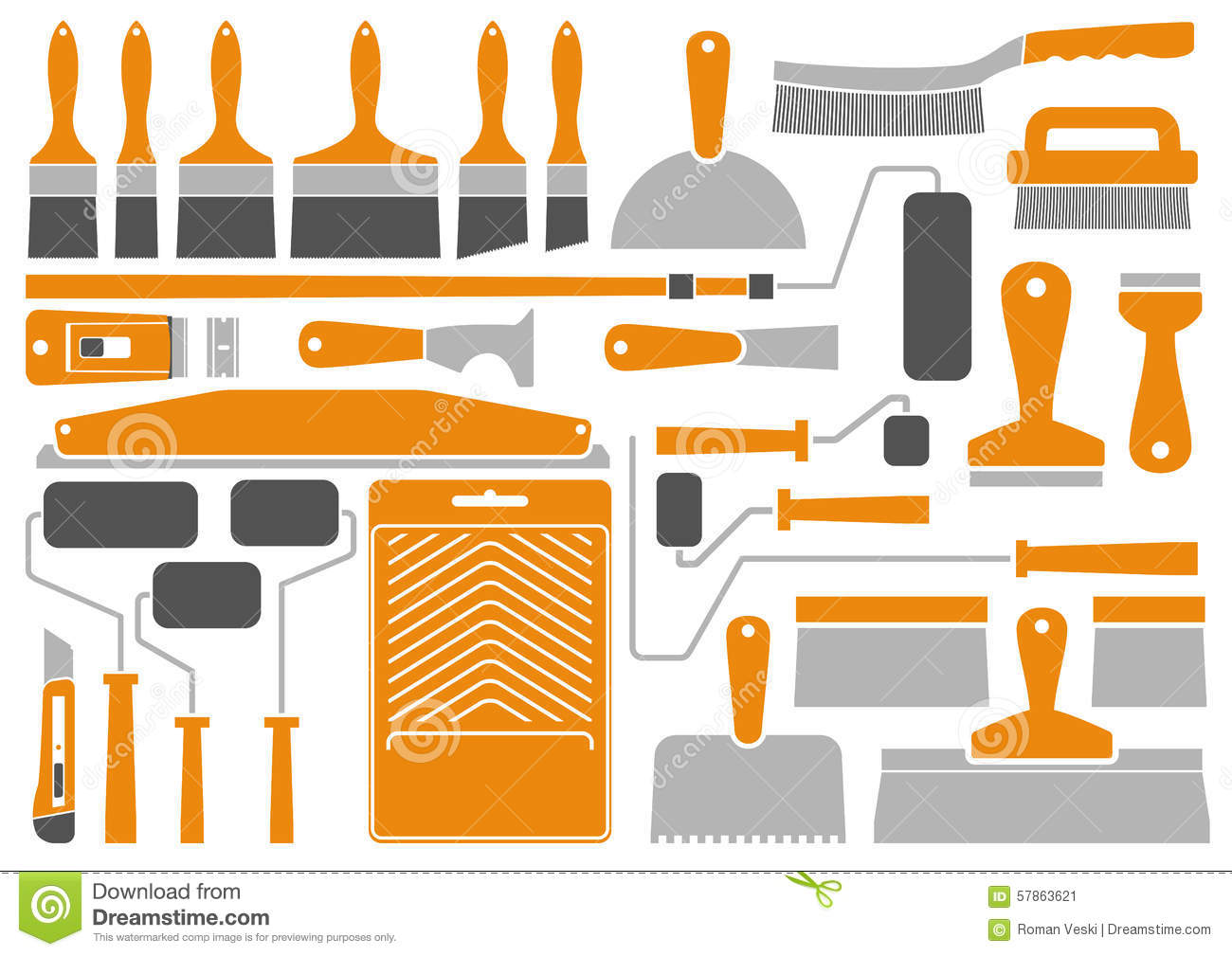 House Painting Tools And Equipment Stock Vector Image