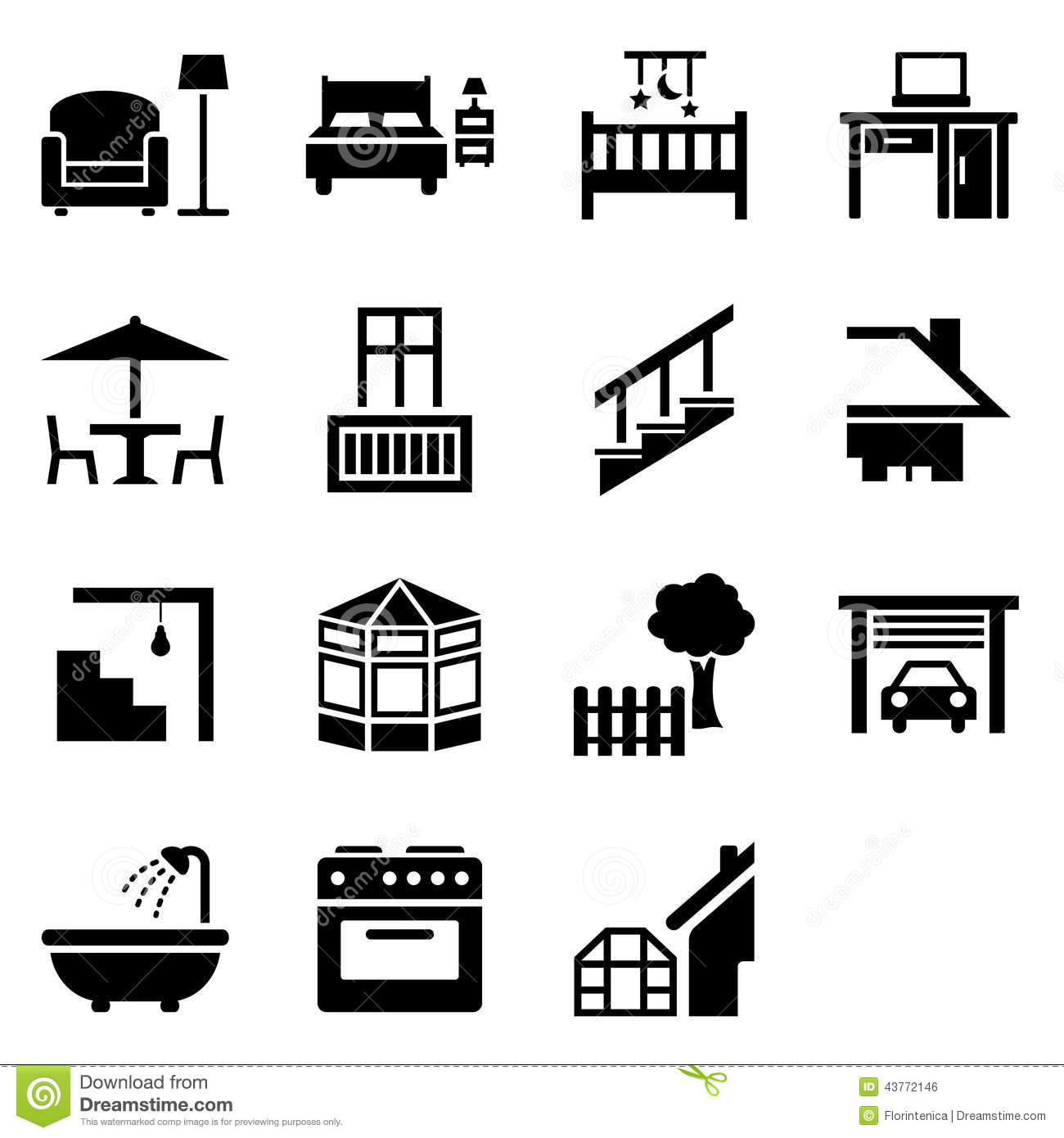 Stock Illustration House Parts Icons Icon Set Vector Symbols Representing Different Image43772146 on 2 bedroom garage apartment plans