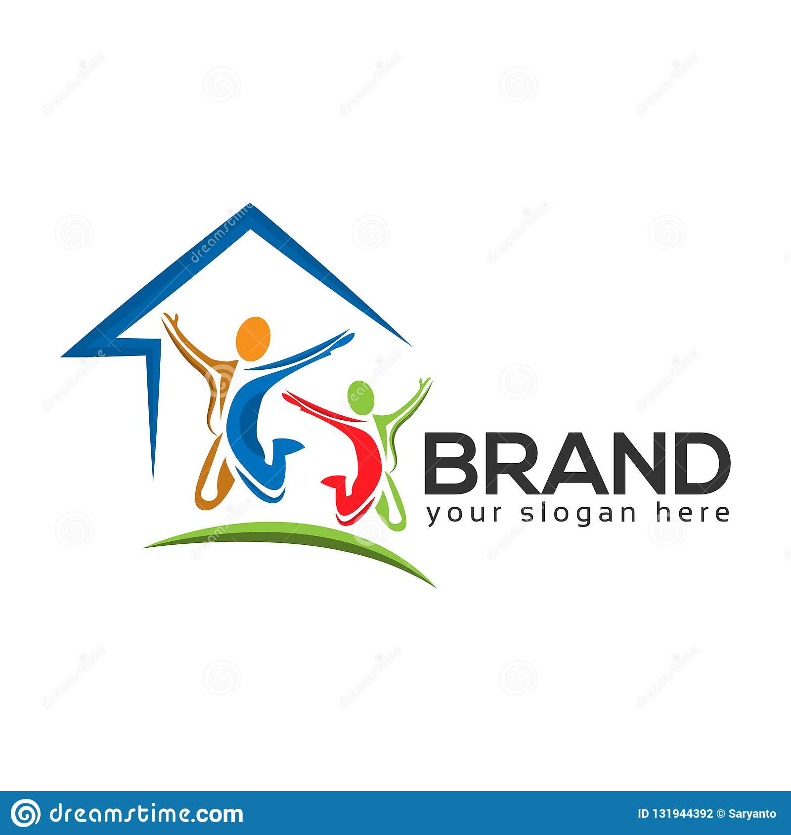 House and people Logo Design Vector, Vector illustration on white background.