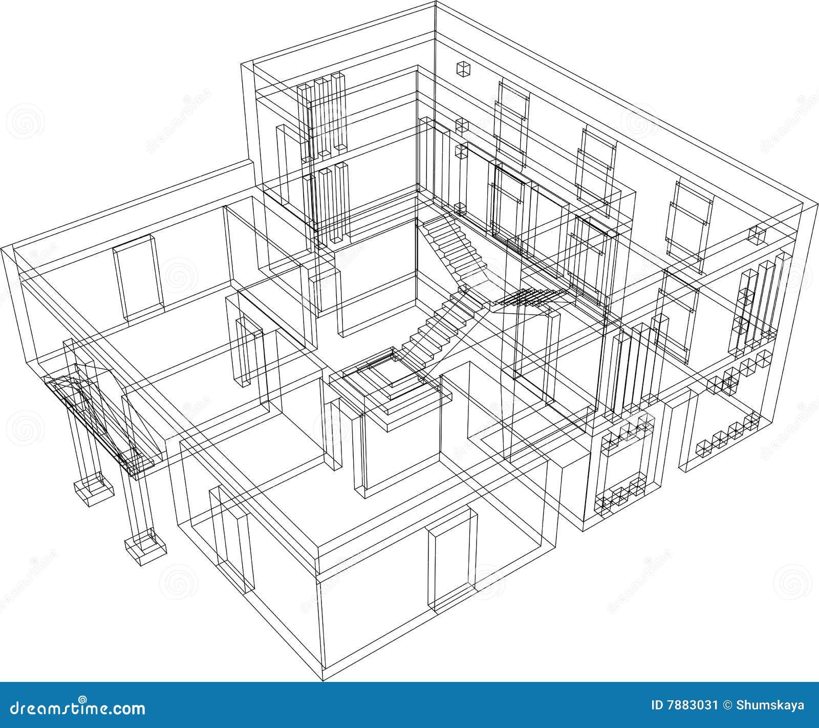 House perspective stock vector illustration of nobody for Kamer 3d tekenen
