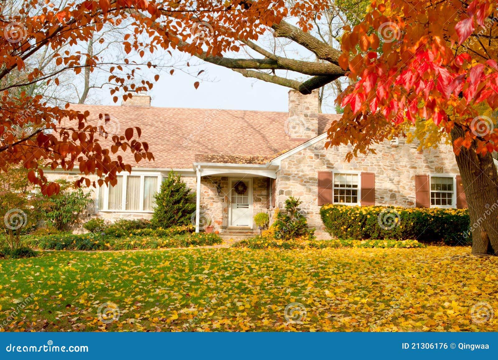 House Philadelphia Yellow Fall Autumn Leaves Tree Royalty Free Stock Image
