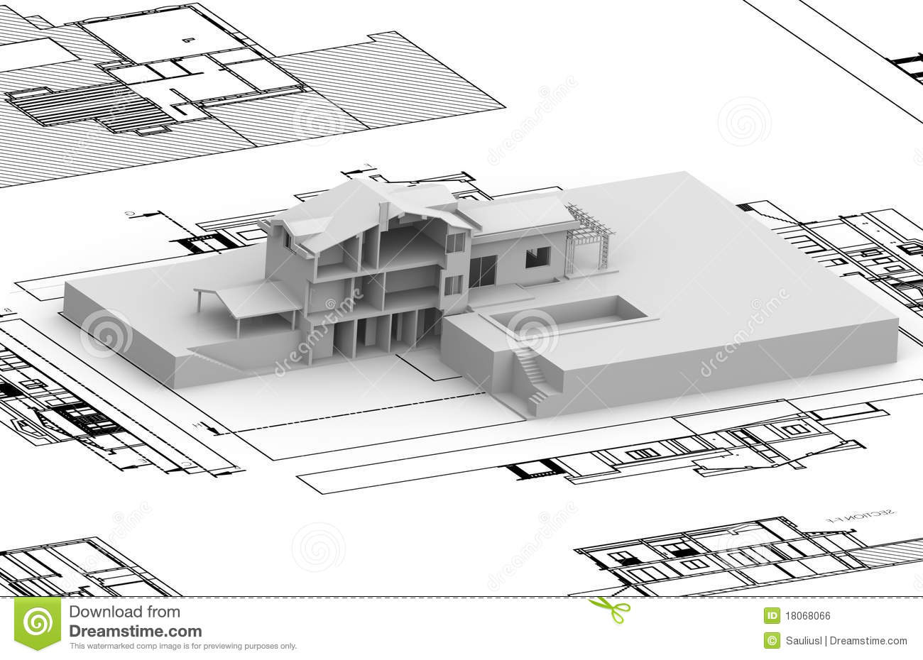 House Plan With 3d Model Stock Illustration Illustration Of