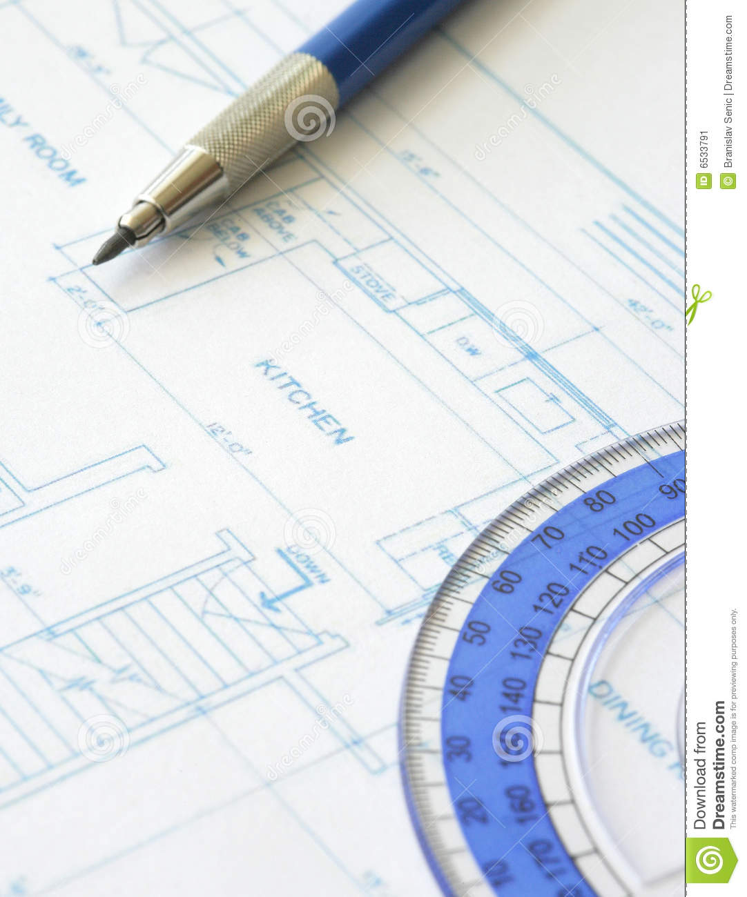 House Plan Blueprint Architect Design Stock Image