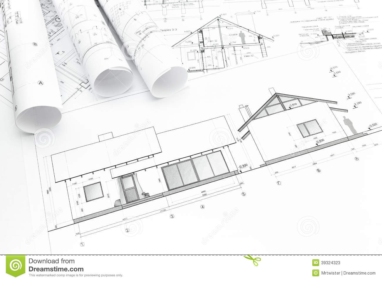 House plan blueprint stock photo image 39324323 for New construction plans