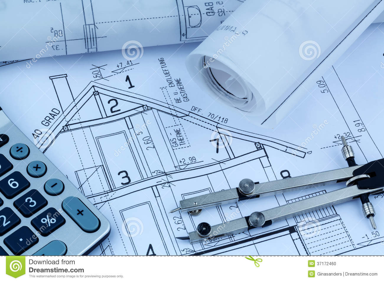 House Plan With Calculator Stock Photo Image 37172460