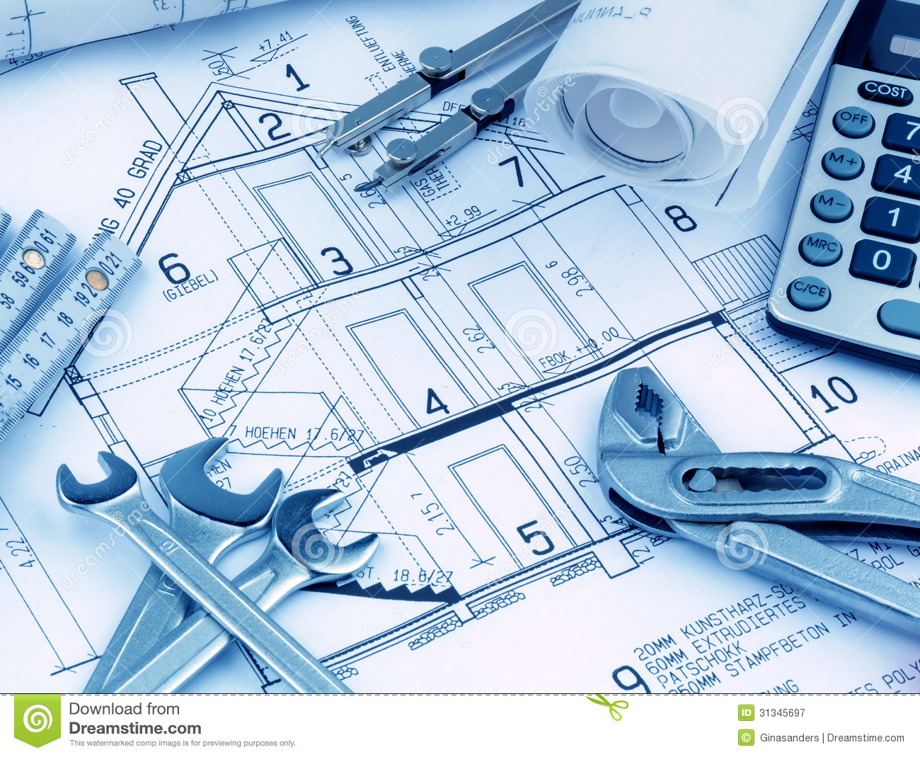 House Plan With Calculator Royalty Free Stock Photography