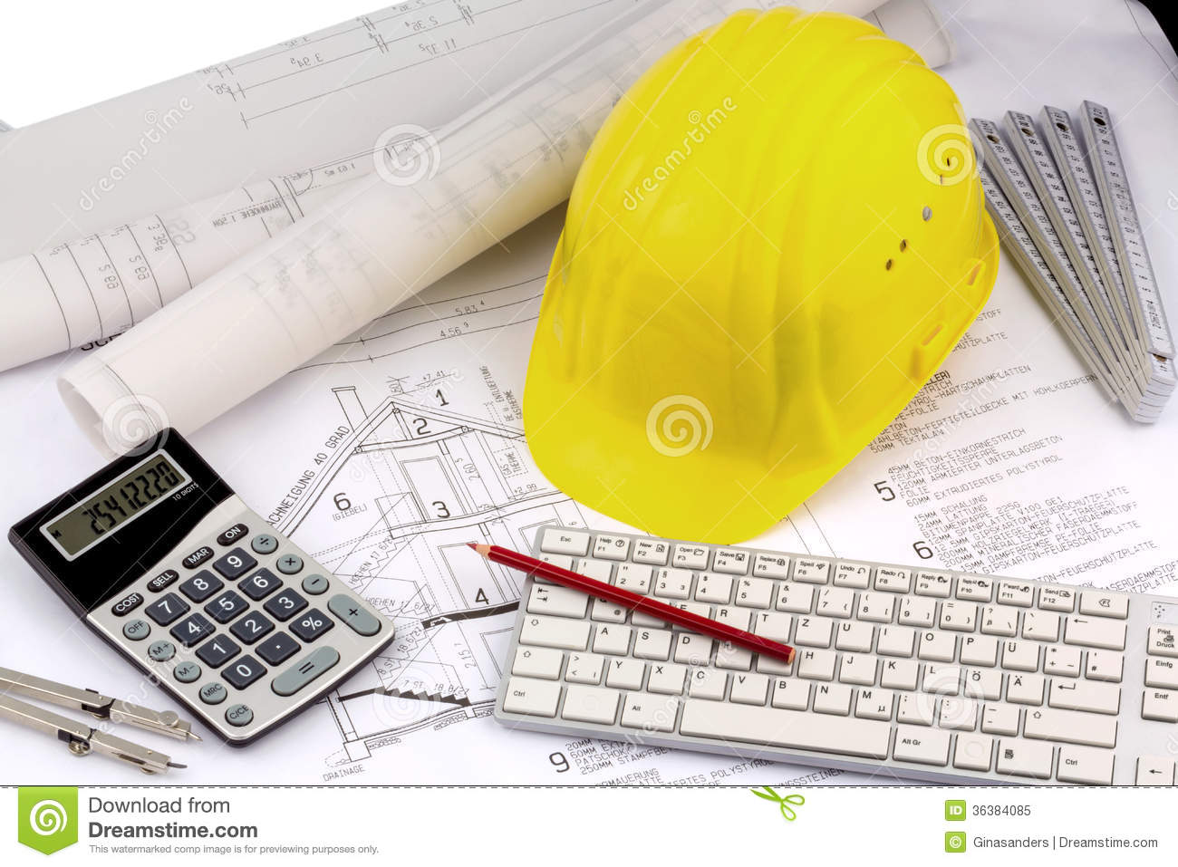 House Plan With A Construction Worker S Helmet Royalty