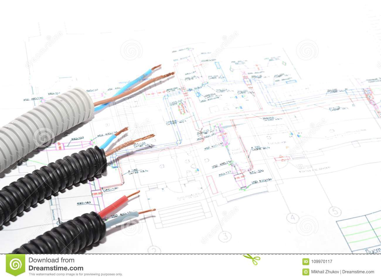 House Plan electrical Connection  Stock Image - Image of banner