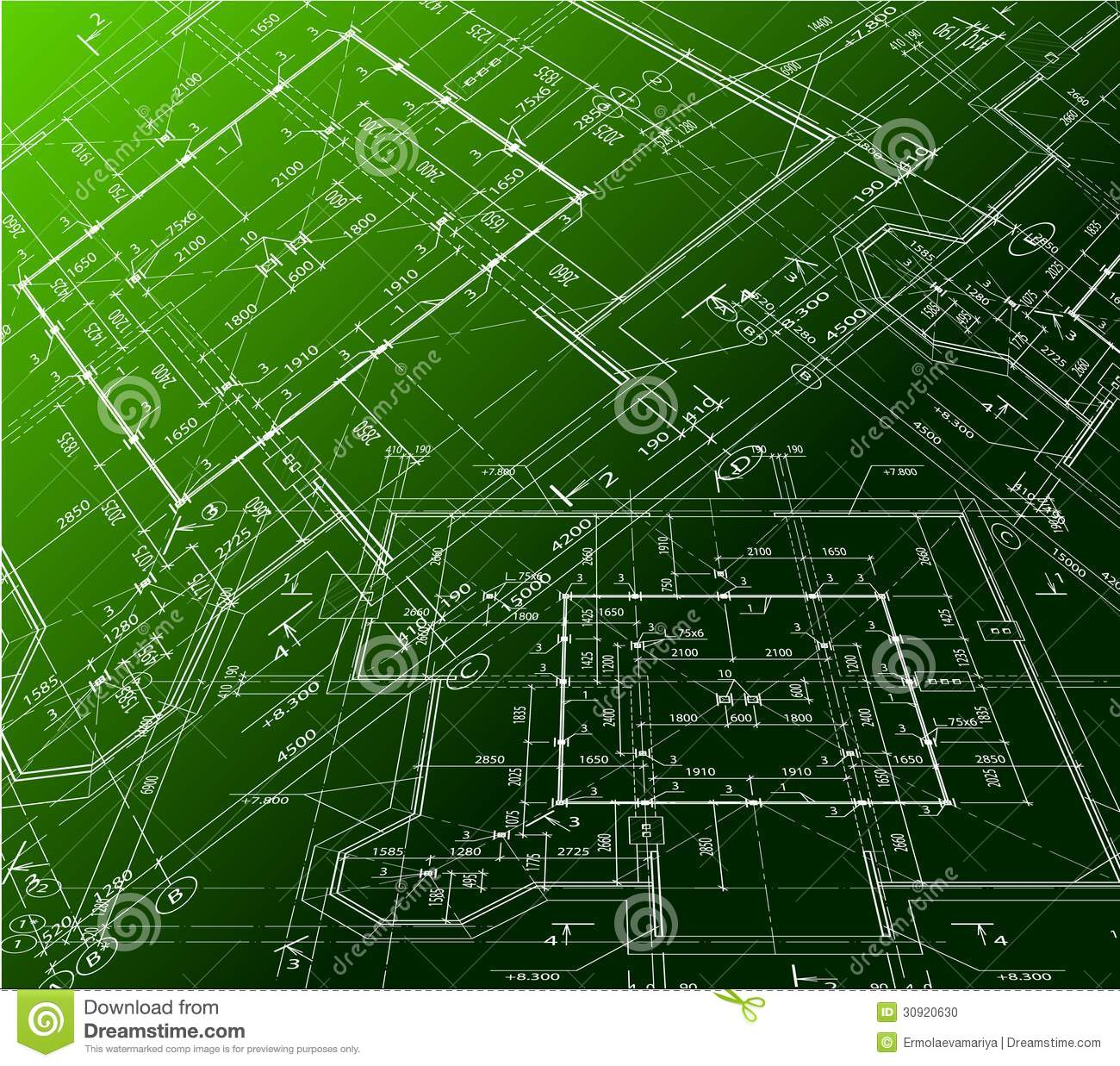 House plan on green background vector blueprint stock for House plans green