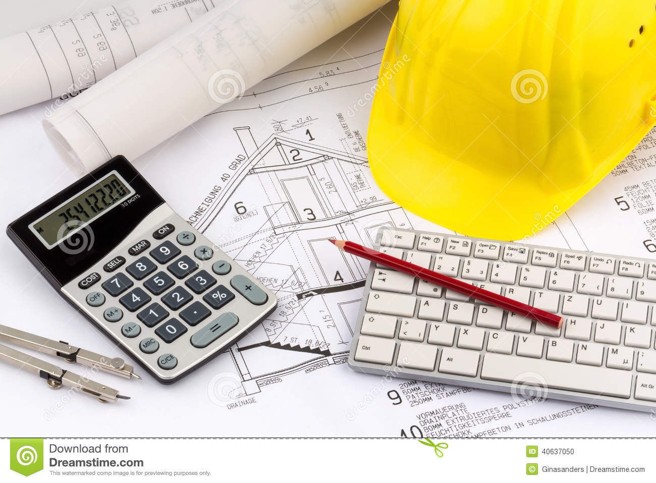 House Plan With Helmets Of A Construction Worker Stock