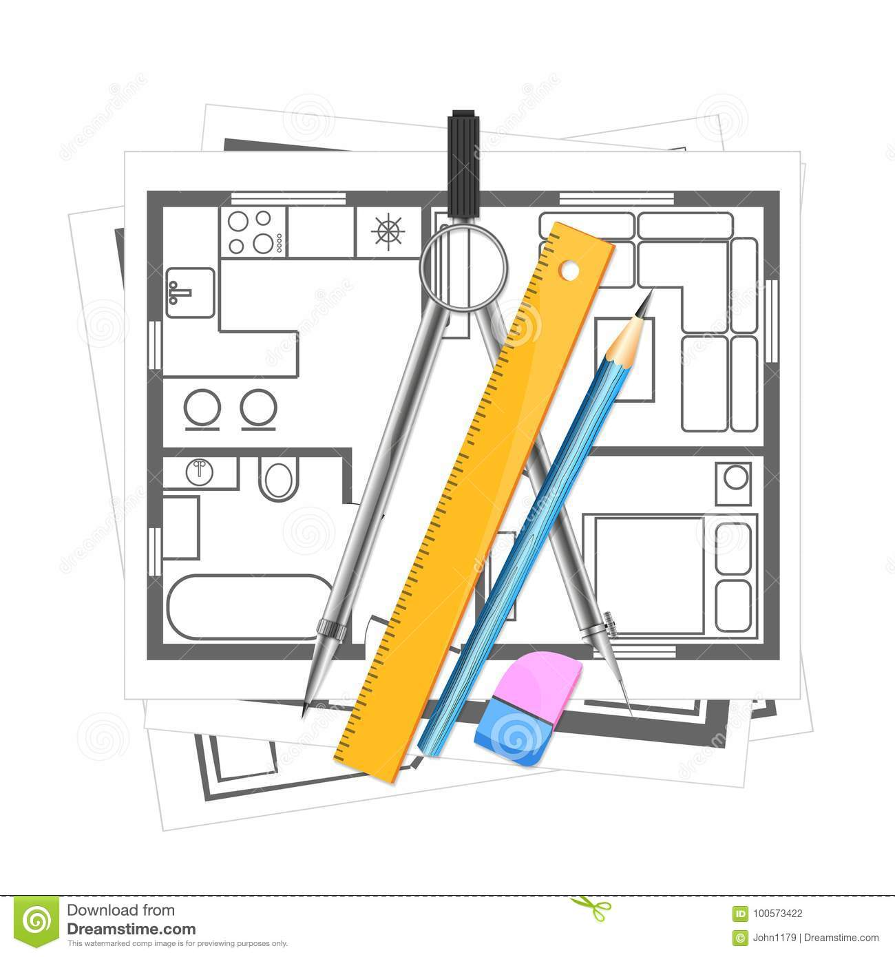 Download House Plan And Tool For Drawing Stock Vector   Illustration Of  Architect, Planning: