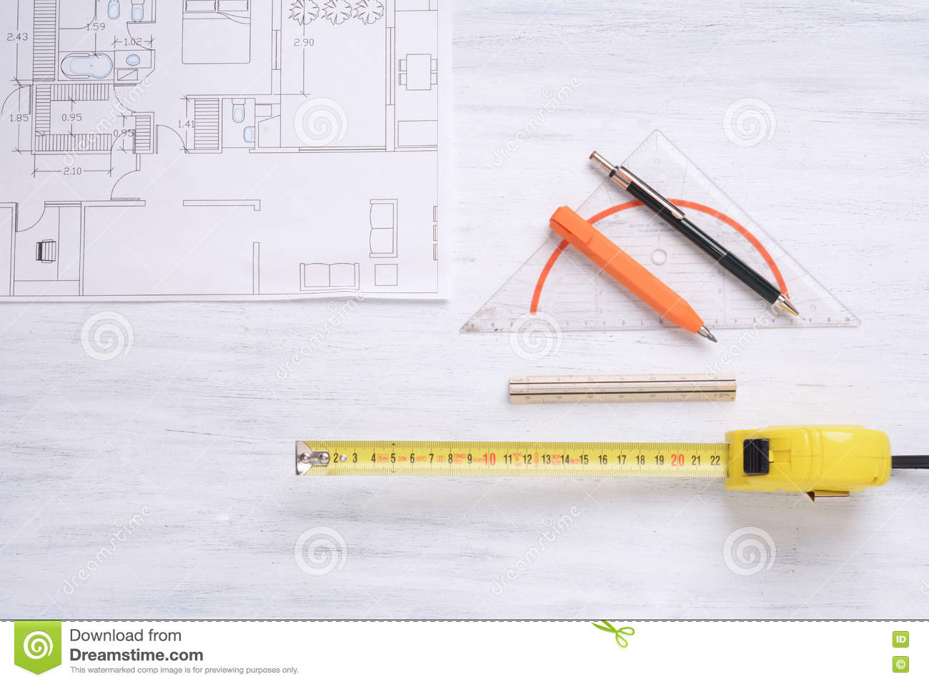 House Plan With Tools Stock Photo Image Of Concepts