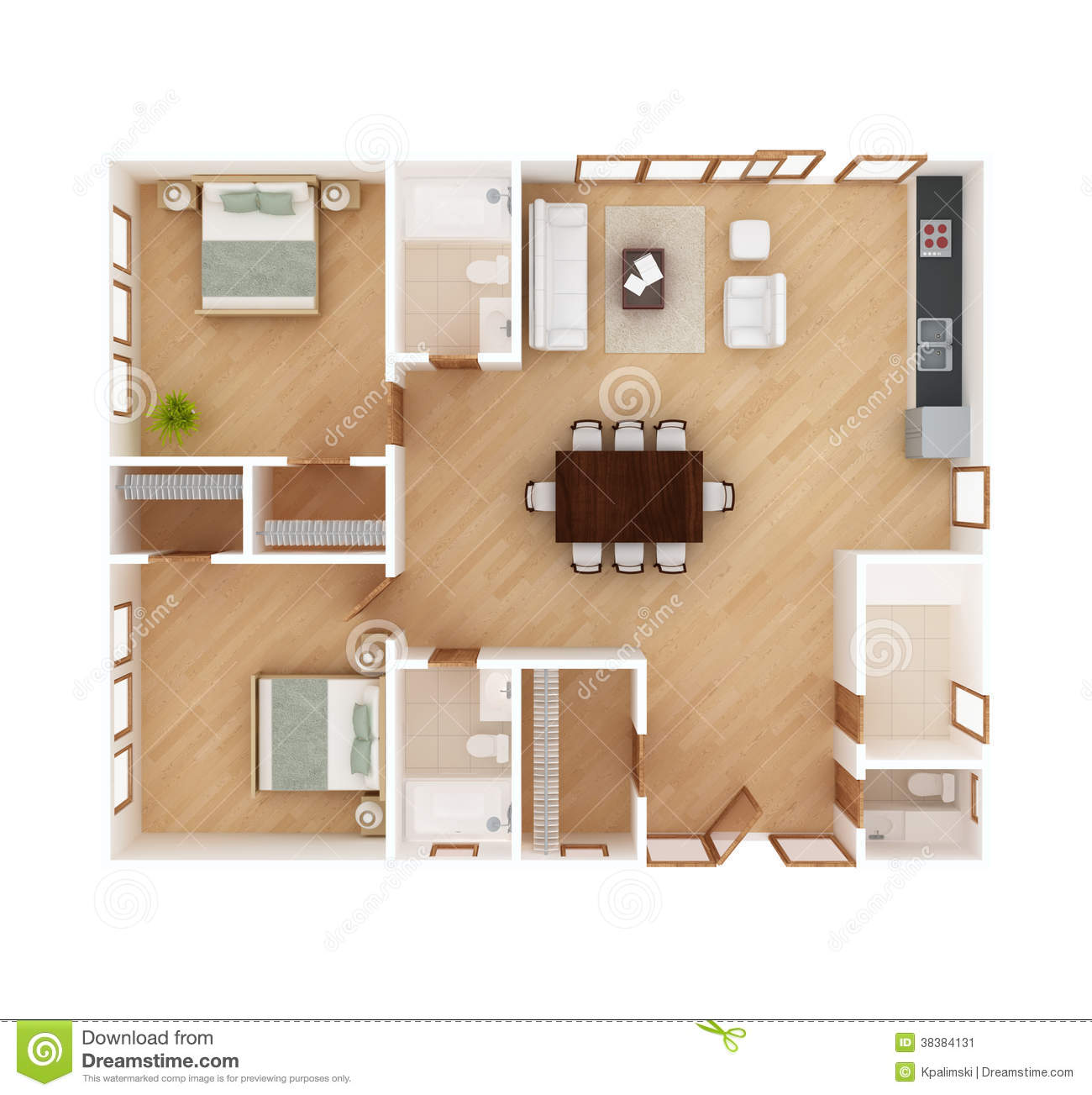 All White Bedrooms House Plan Top View Stock Illustration Illustration Of