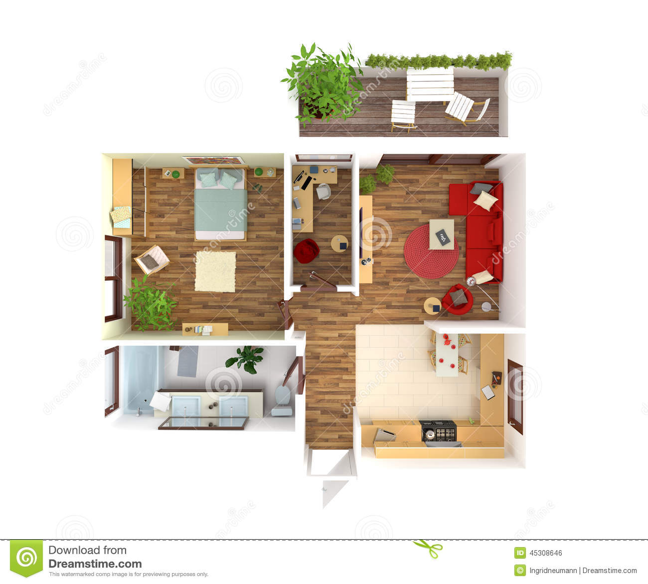 House plan top view interior design stock illustration for Two bedroom hall kitchen house plans