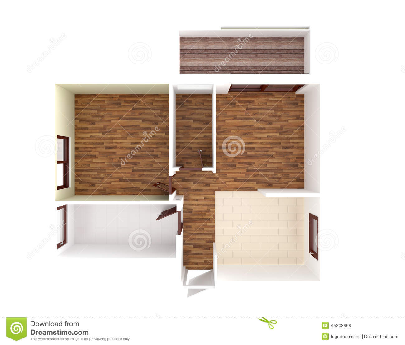 House plan top view interior design stock illustration for Kitchen dining hall design