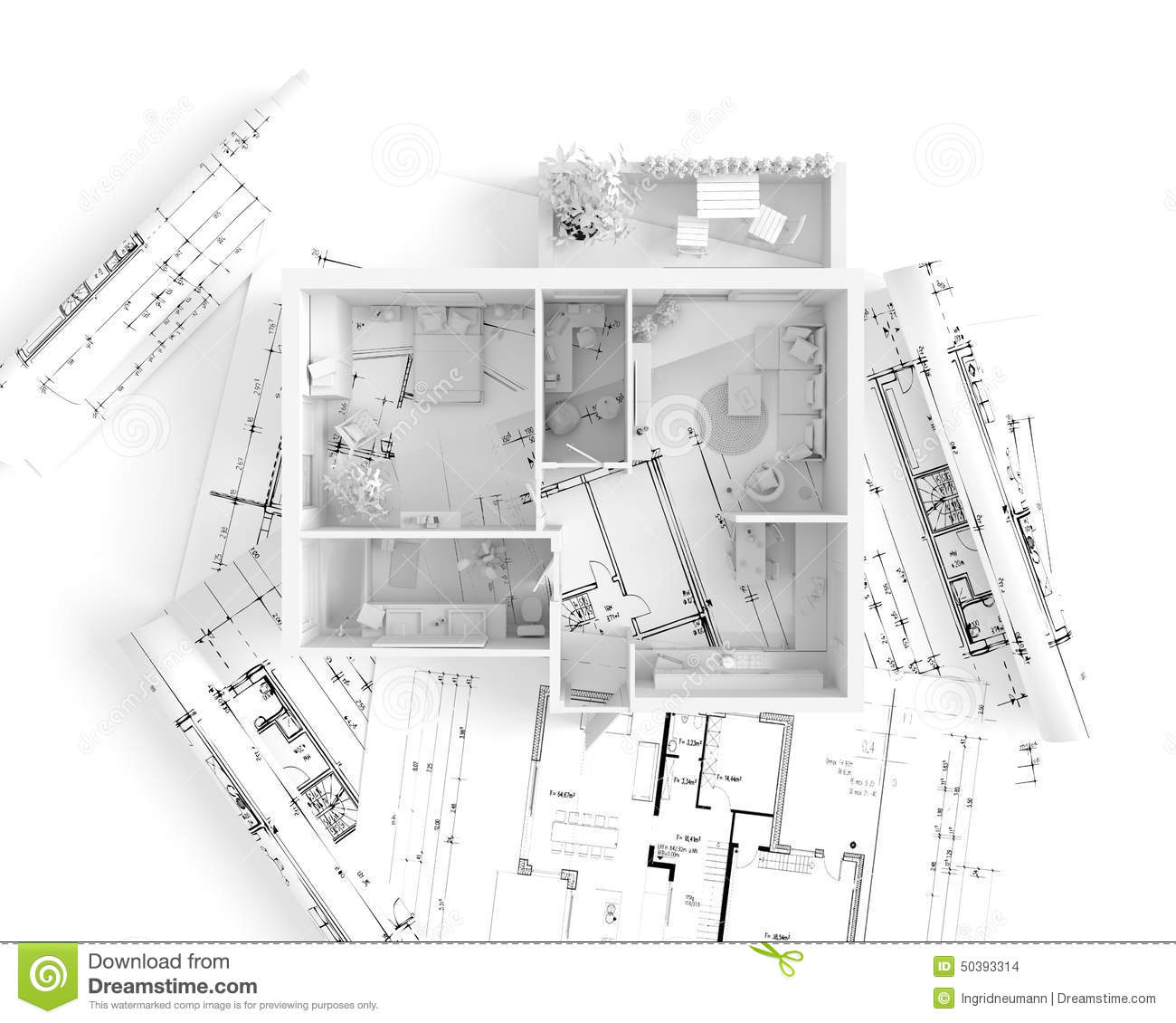 House plan top view interior design stock illustration House plan view