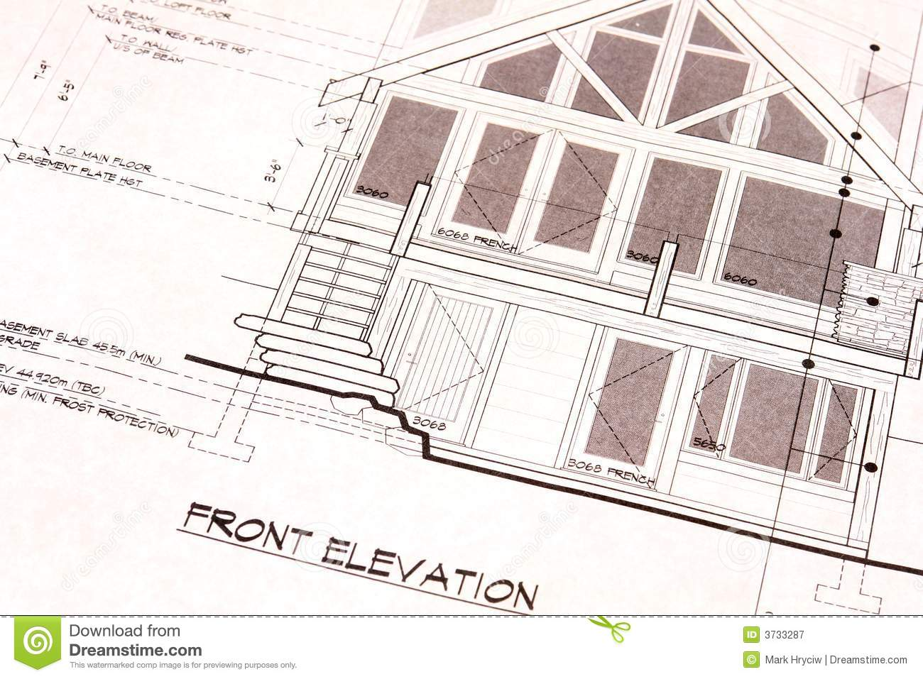 House plans blueprints front royalty free stock for Stock home plans